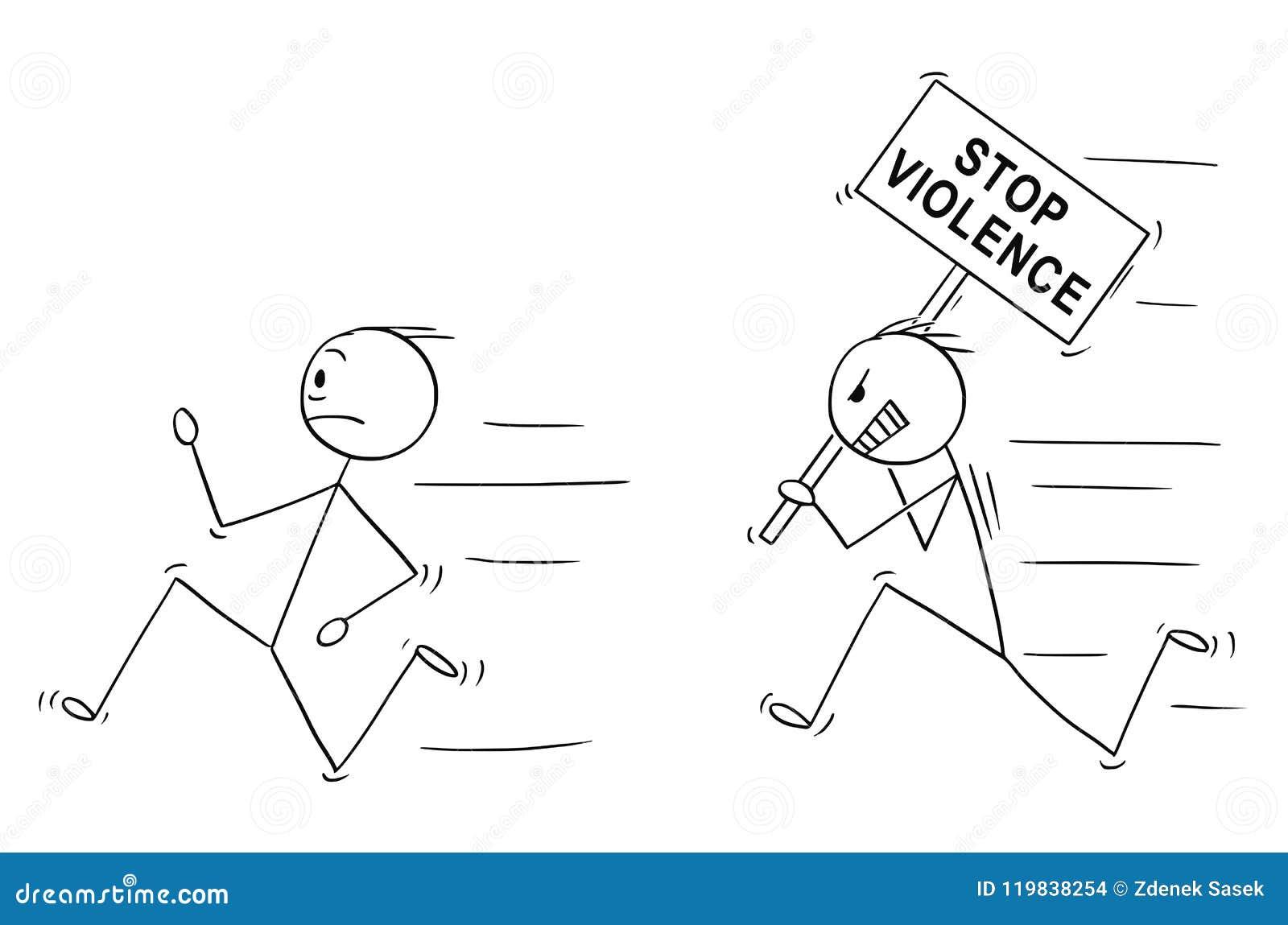 Desenhos animados do sinal violento irritado da violência da parada da terra arrendada do homem que persegue um outro homem
