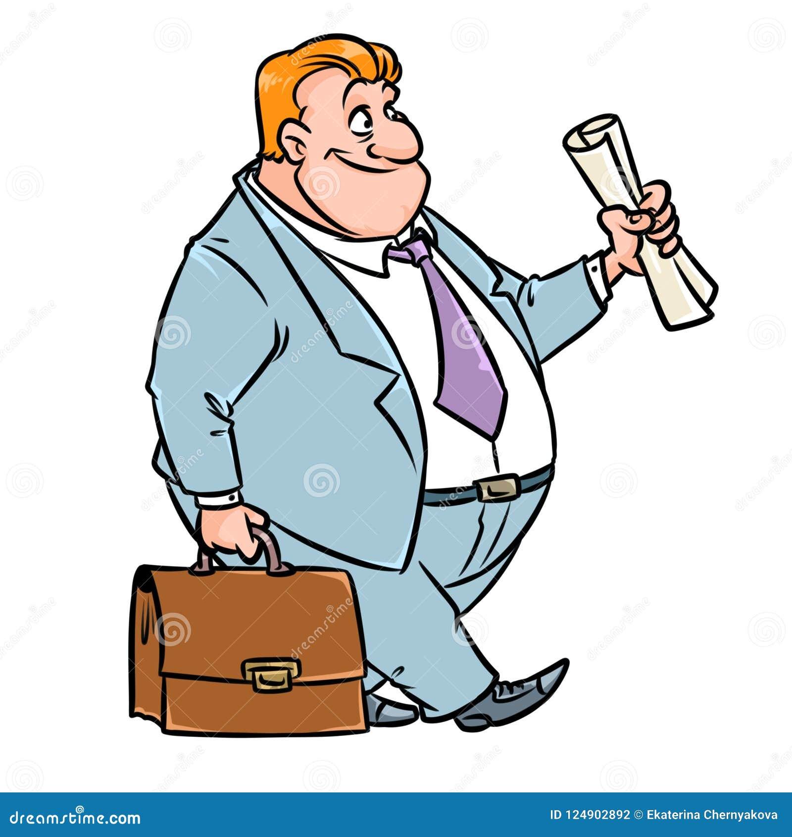 Desenhos animados do terno do portfólio do terno de negócio do homem de negócios