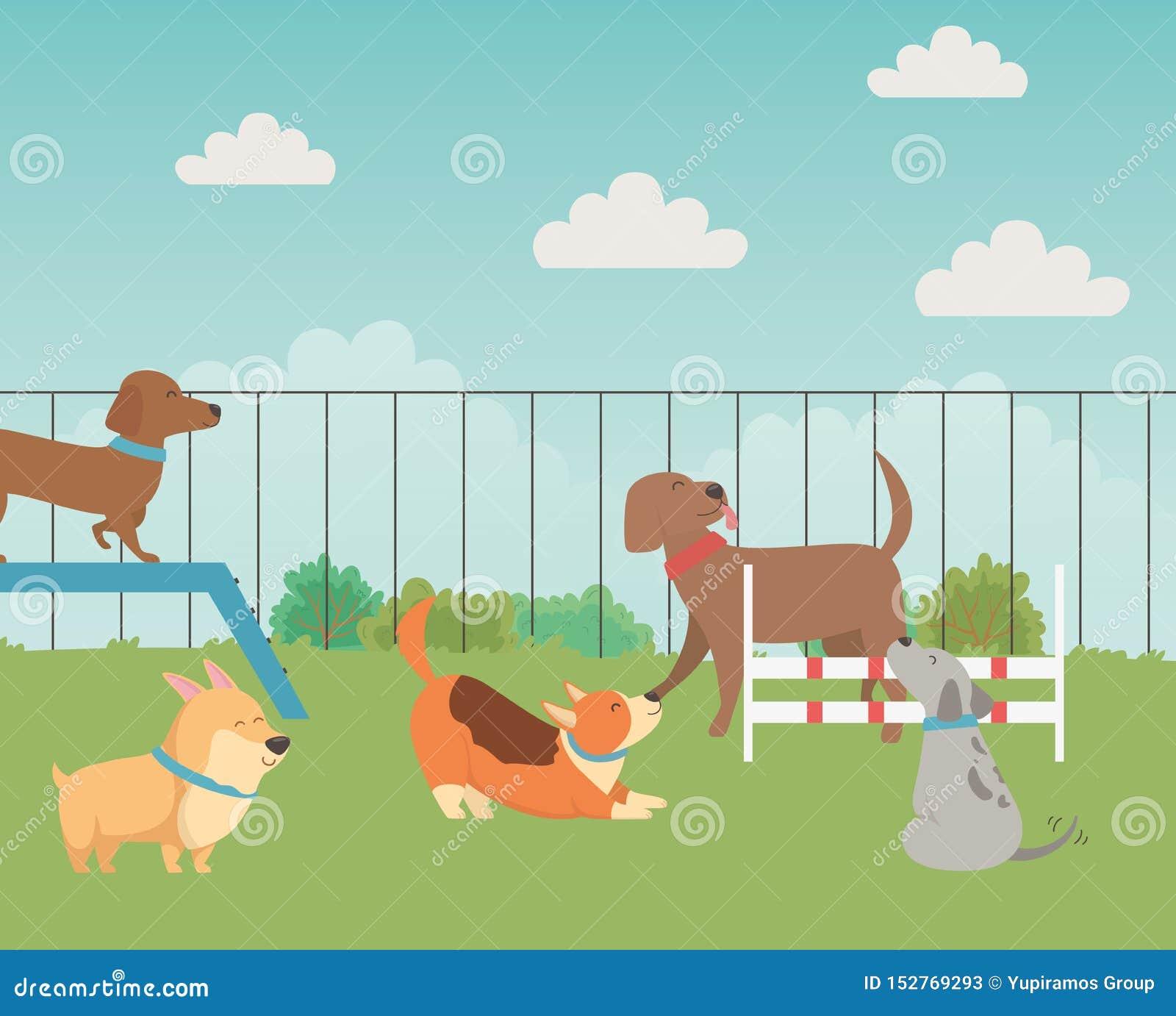 Desenhos animados dos cães no projeto do parque