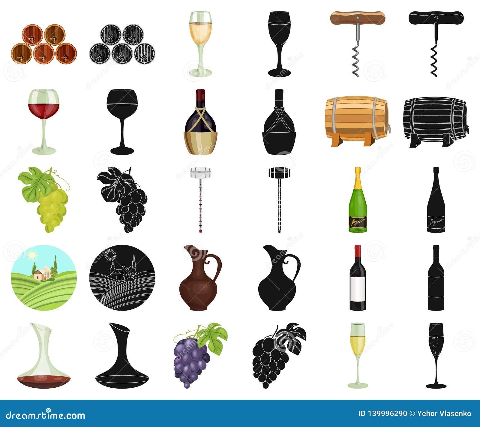 Desenhos animados dos produtos de vinho, ícones pretos em coleção ajustada para o projeto O equipamento e a produção de vinho vec