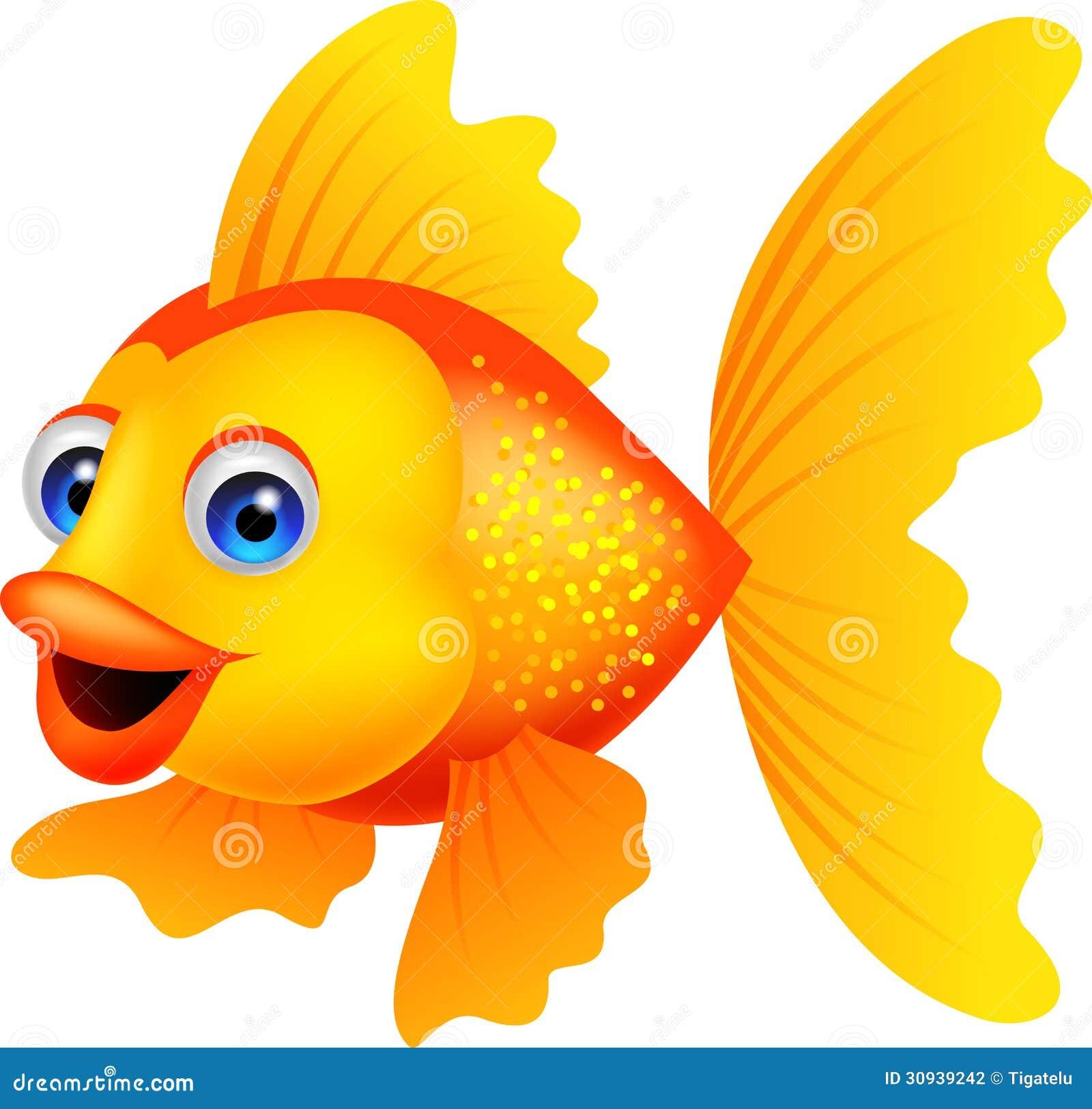 Desenhos Animados Dourados Dos Peixes Ilustracao Do Vetor
