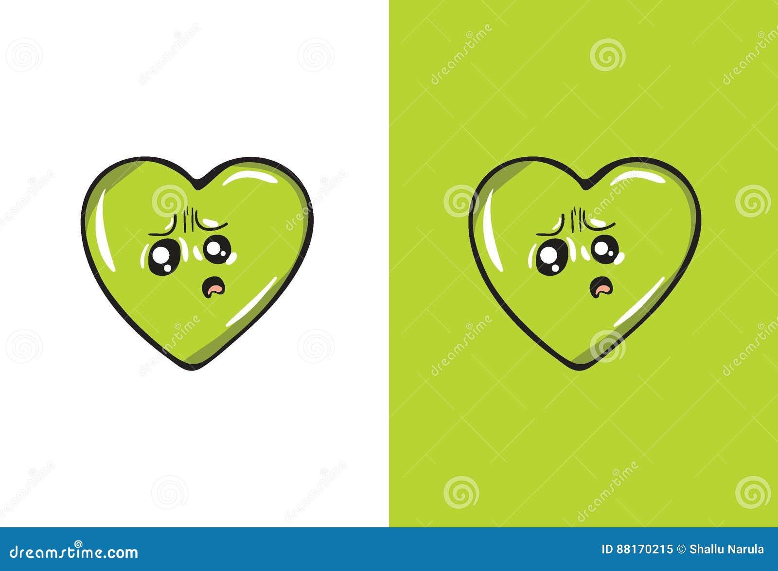 Desenhos Animados Emoji Triste Na Forma Do Coração