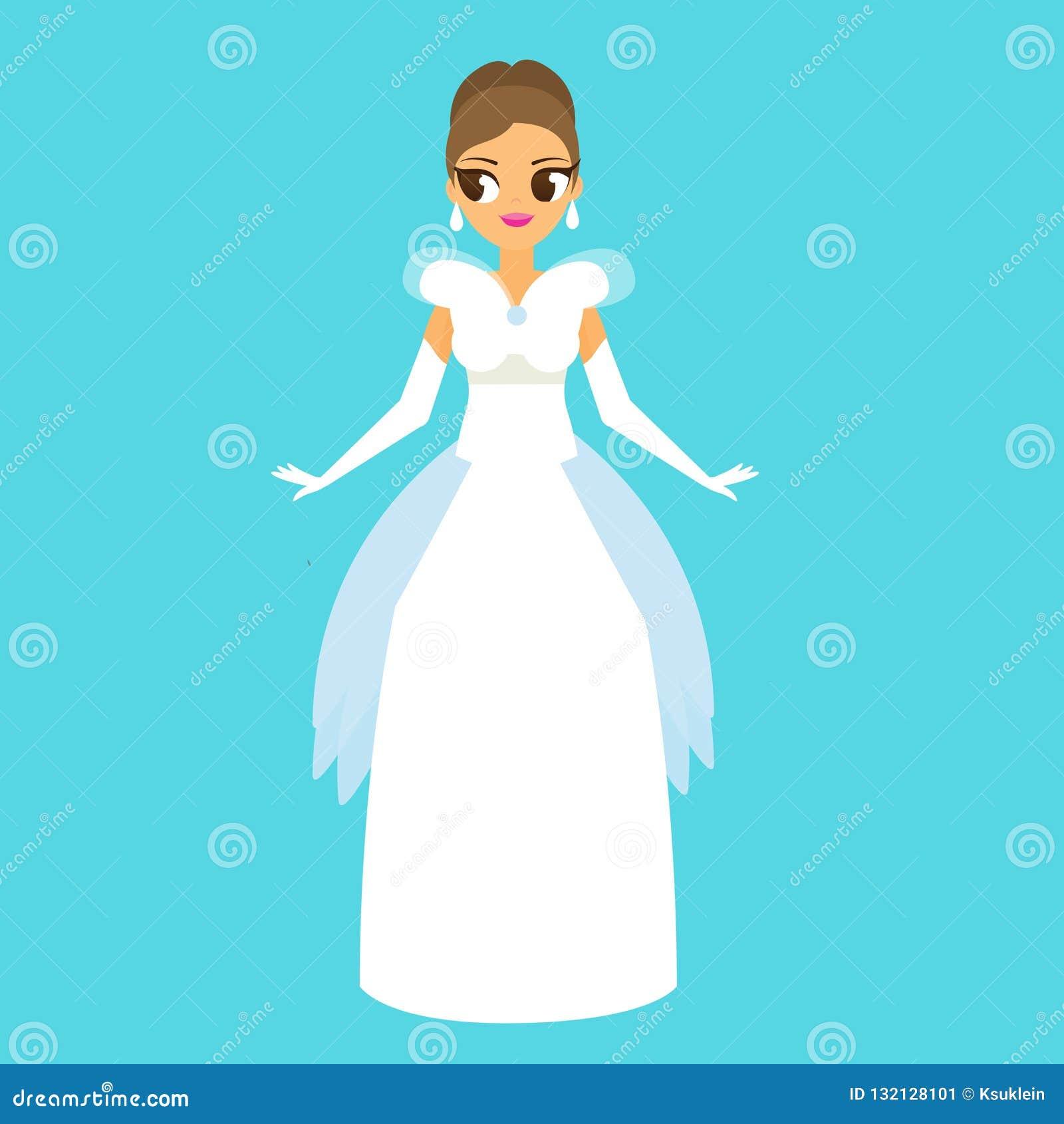 Desenhos Animados Fêmeas No Vestido Longo Branco Elegante Do