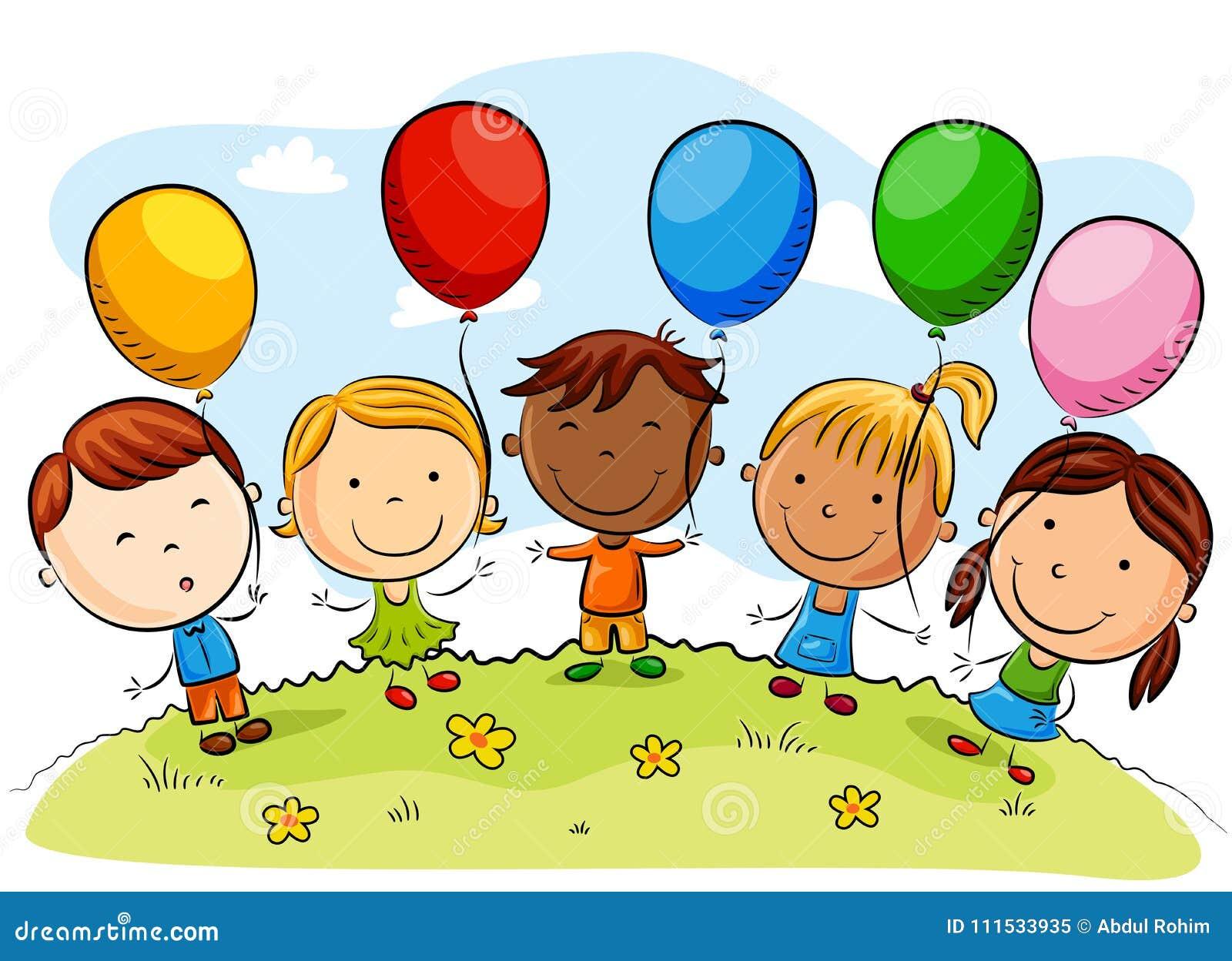 Desenhos Animados Felizes Das Criancas Com Baloes Coloridos