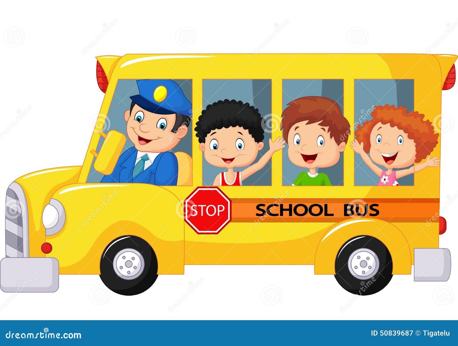 Desenhos Animados Felizes Das Criancas Em Um Onibus Escolar