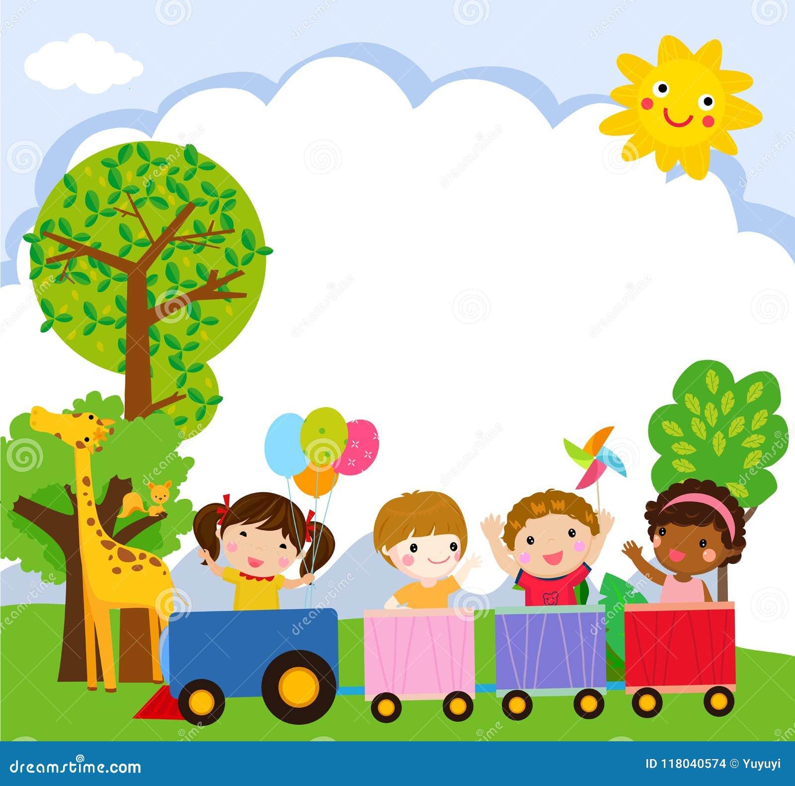 Desenhos Animados Felizes Das Criancas Em Um Trem Colorido