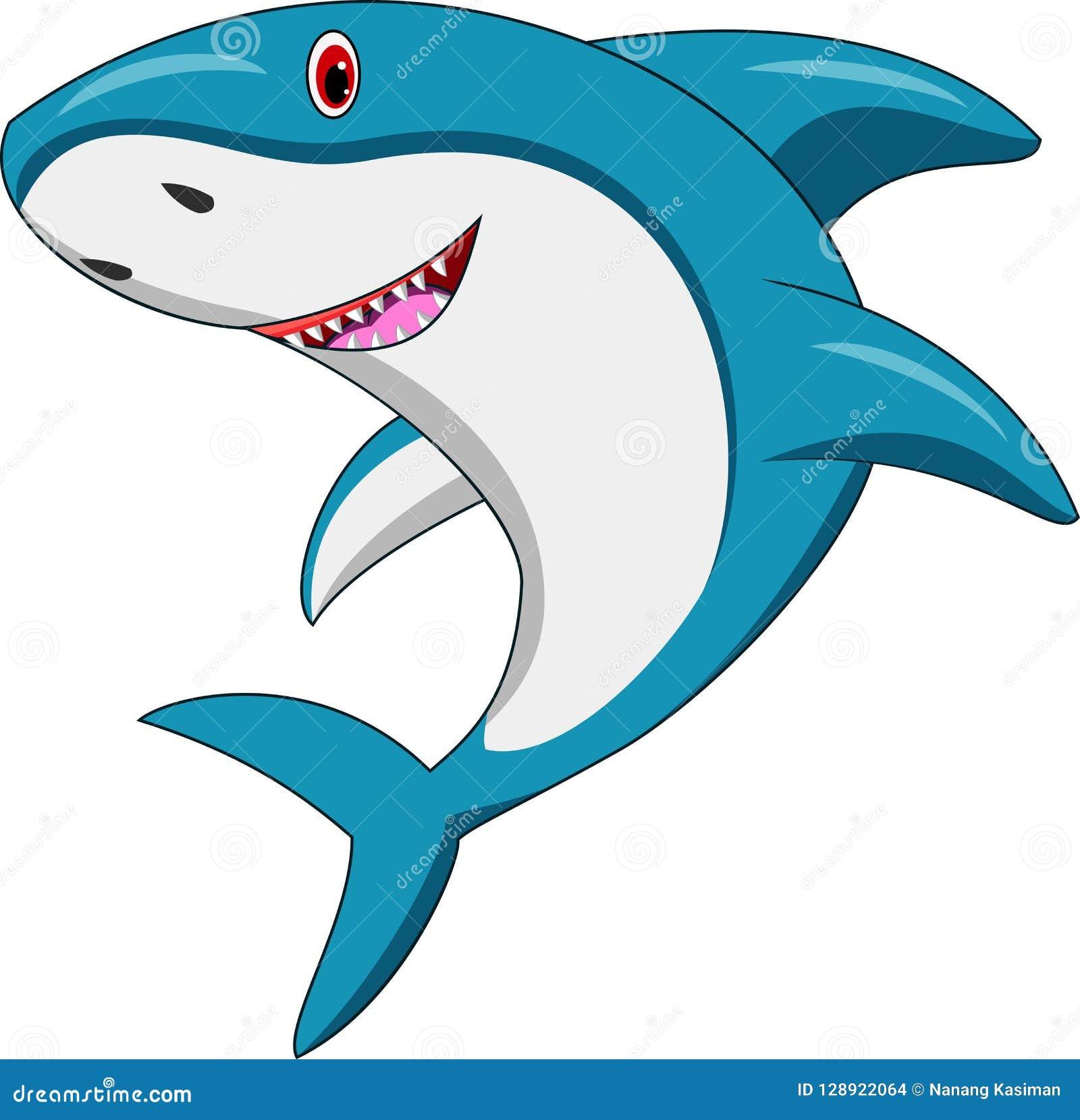 Desenhos animados felizes do tubarão