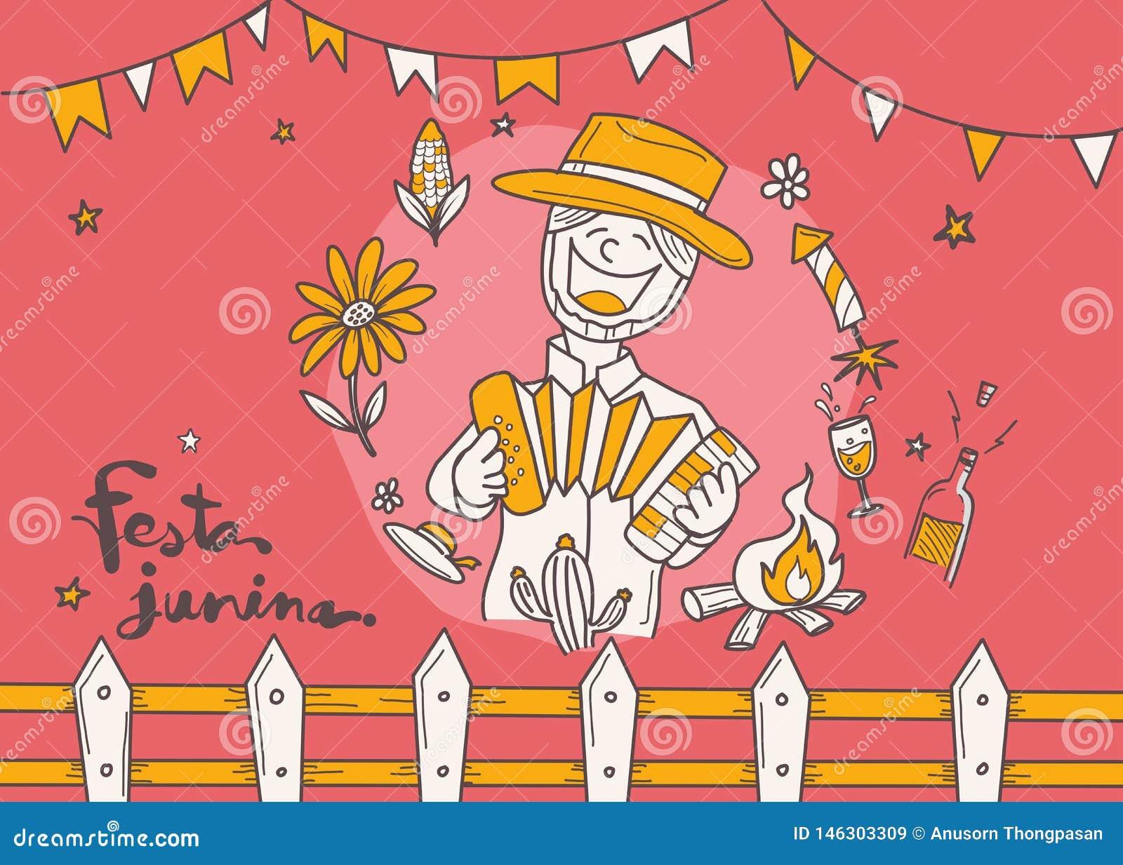 Desenhos Animados Para O Festival Da Vila De Festa Junina No Latim