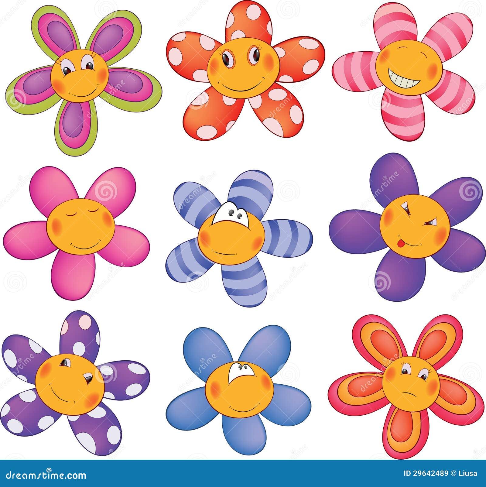 flores pequenas alegres desenhos animados ilustrações vetores e