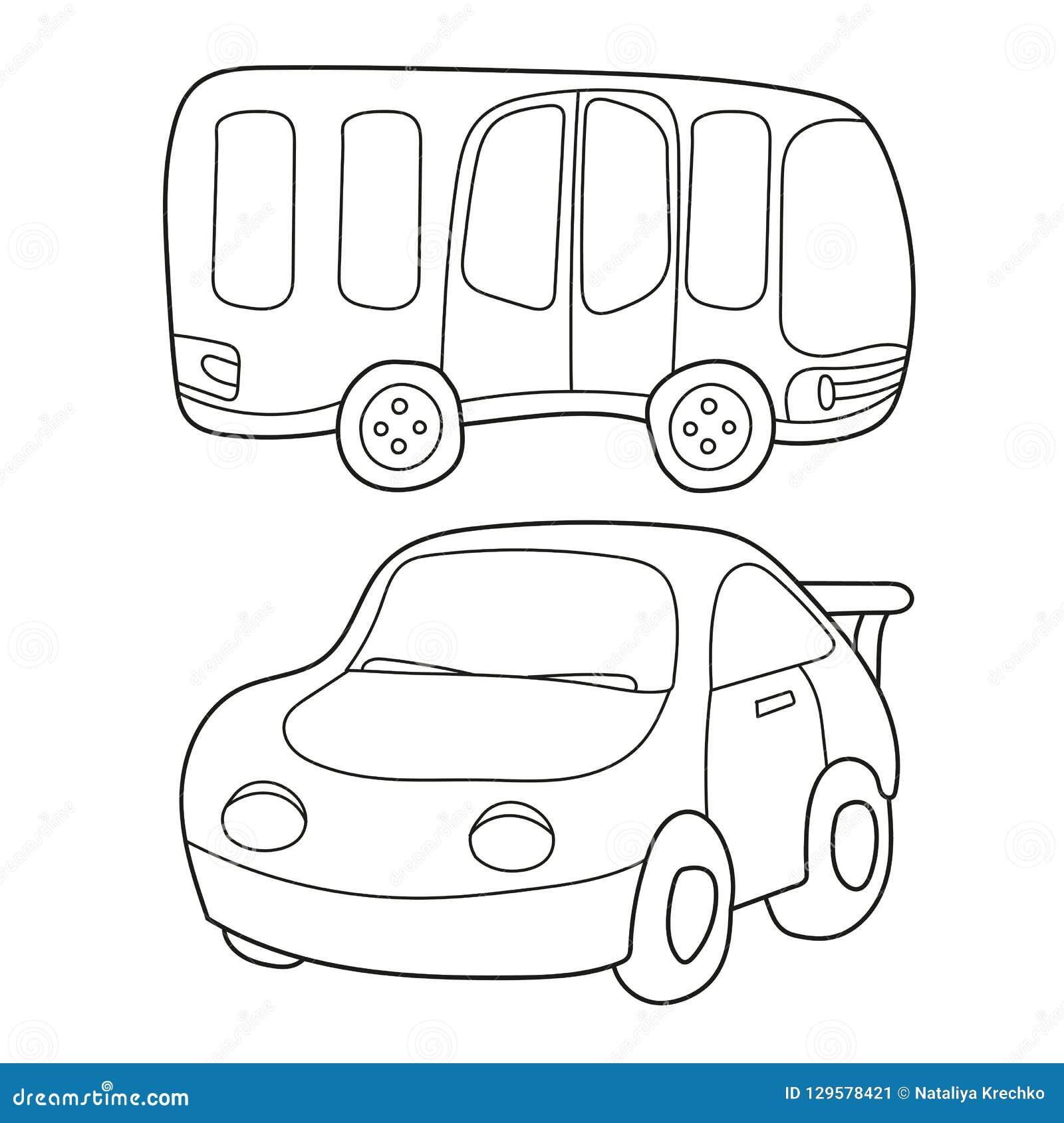 Desenhos Animados Preto E Branco Do Contorno Do Onibus E Do Carro