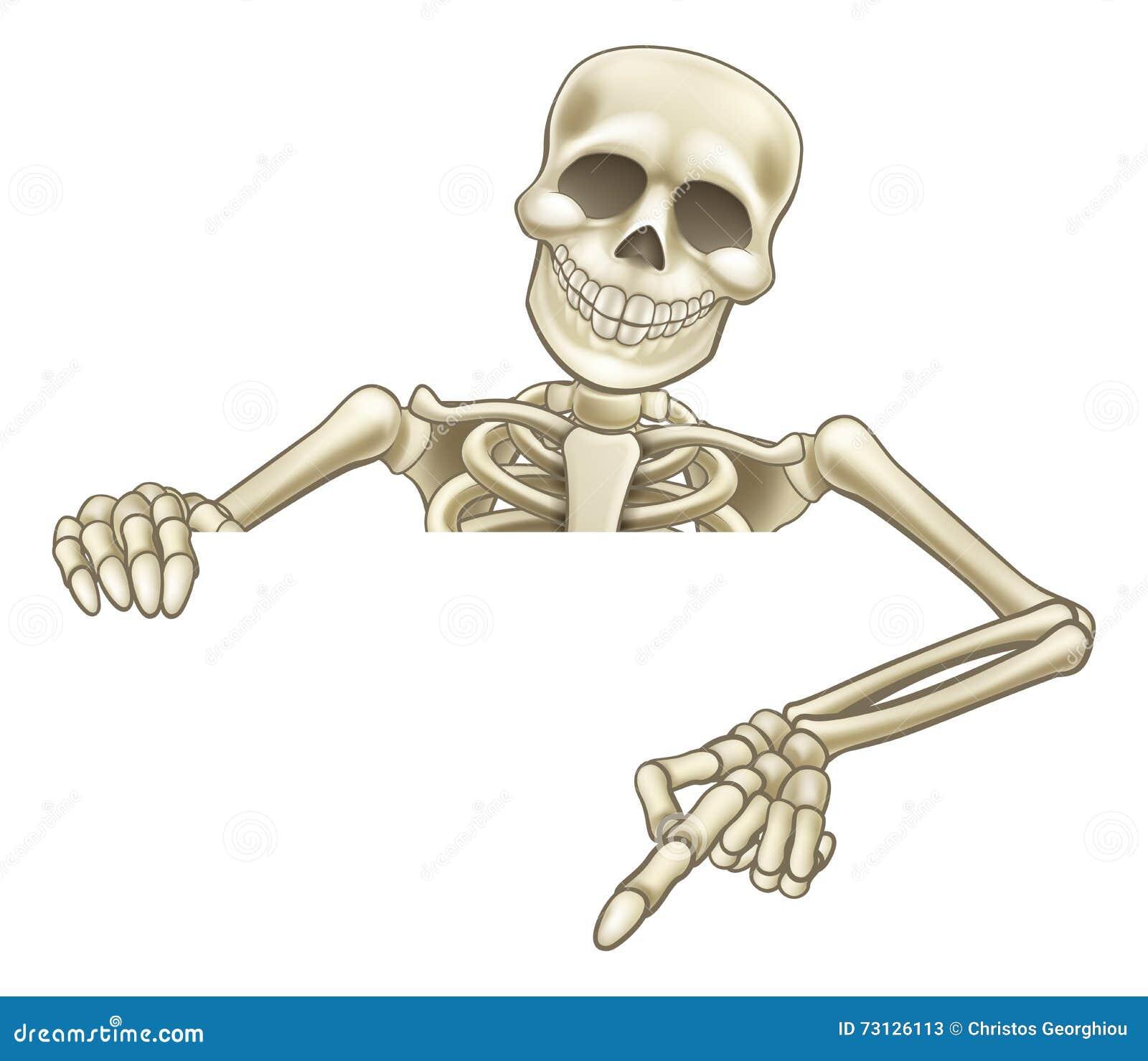 Desenhos animados que espreitam o sinal de esqueleto
