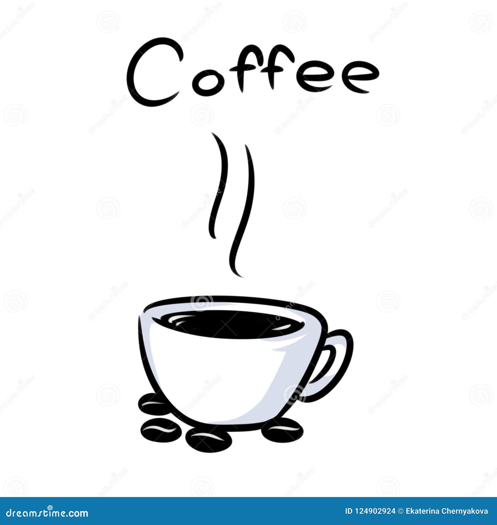 Desenhos Animados Quentes Dos Graos De Cafe Do Copo Do Minimalismo