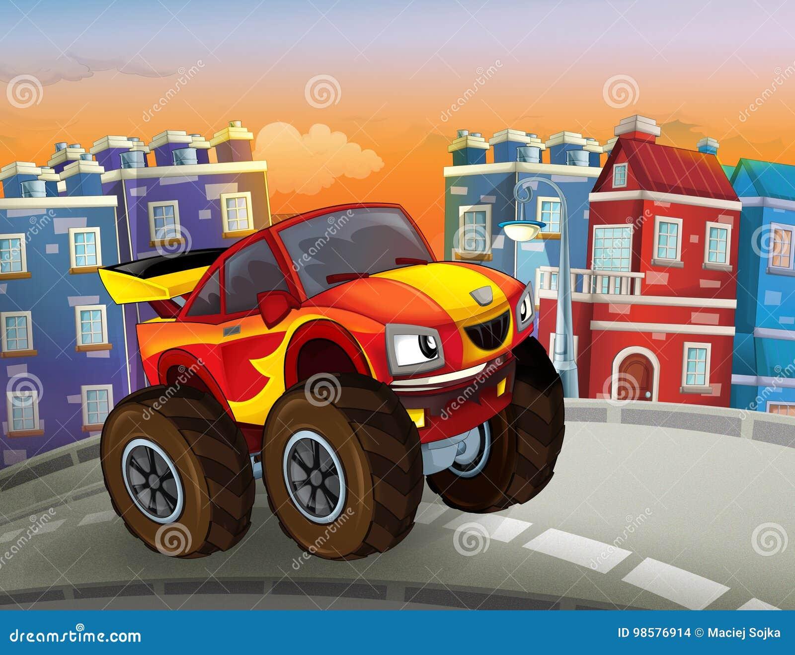 Desenhos Animados Rápidos Fora Do Carro Da Estrada Que