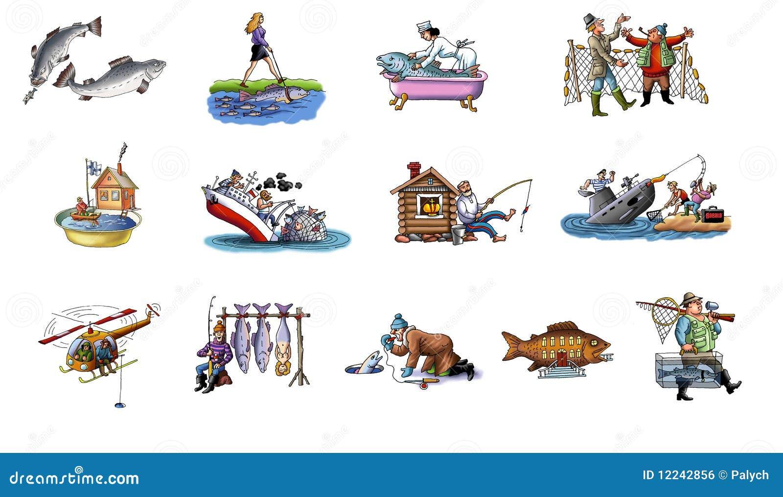 Desenhos Animados Sobre A Pesca Imagem De Stock Royalty