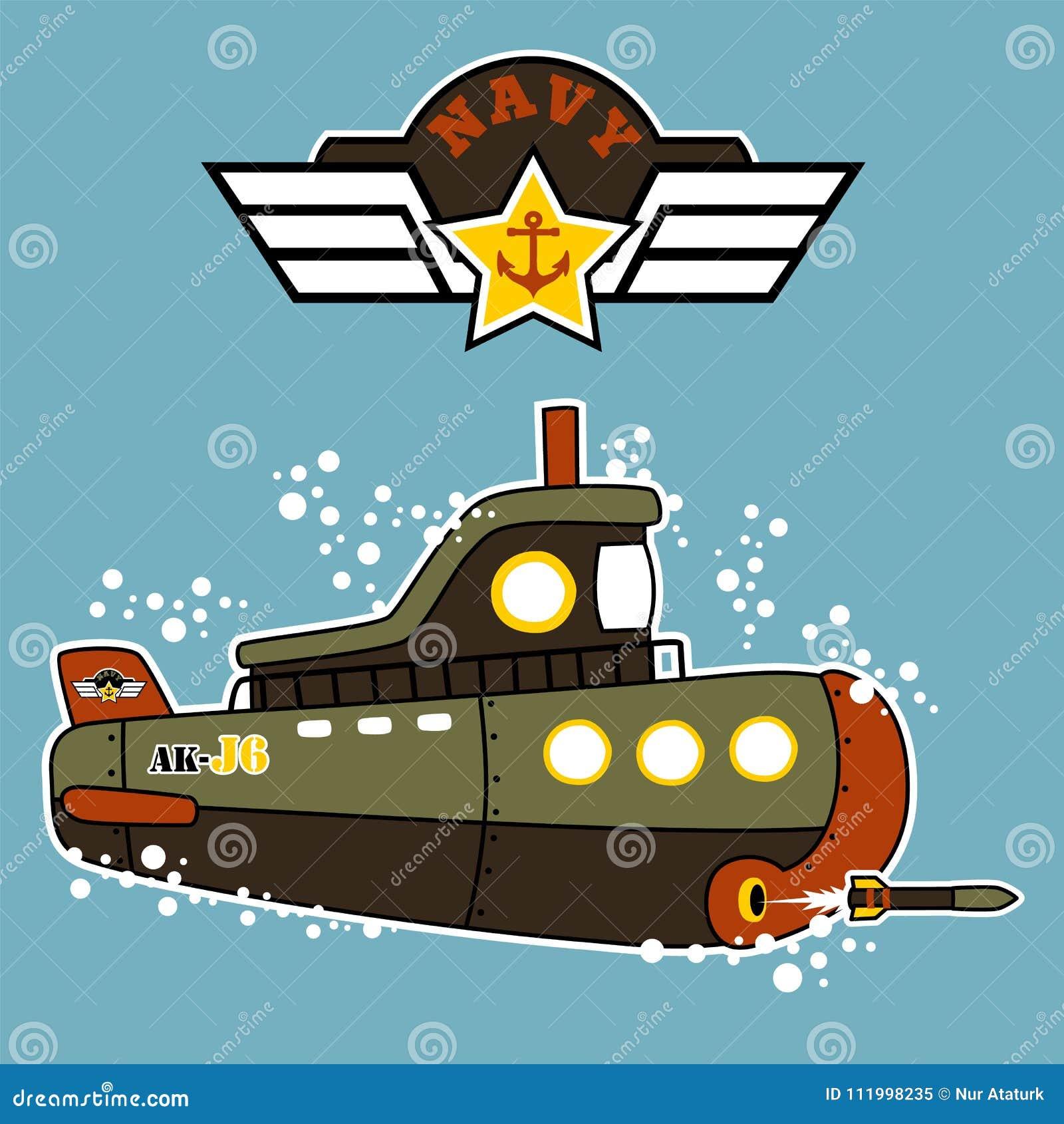 Desenhos animados submarinos militares debaixo d água