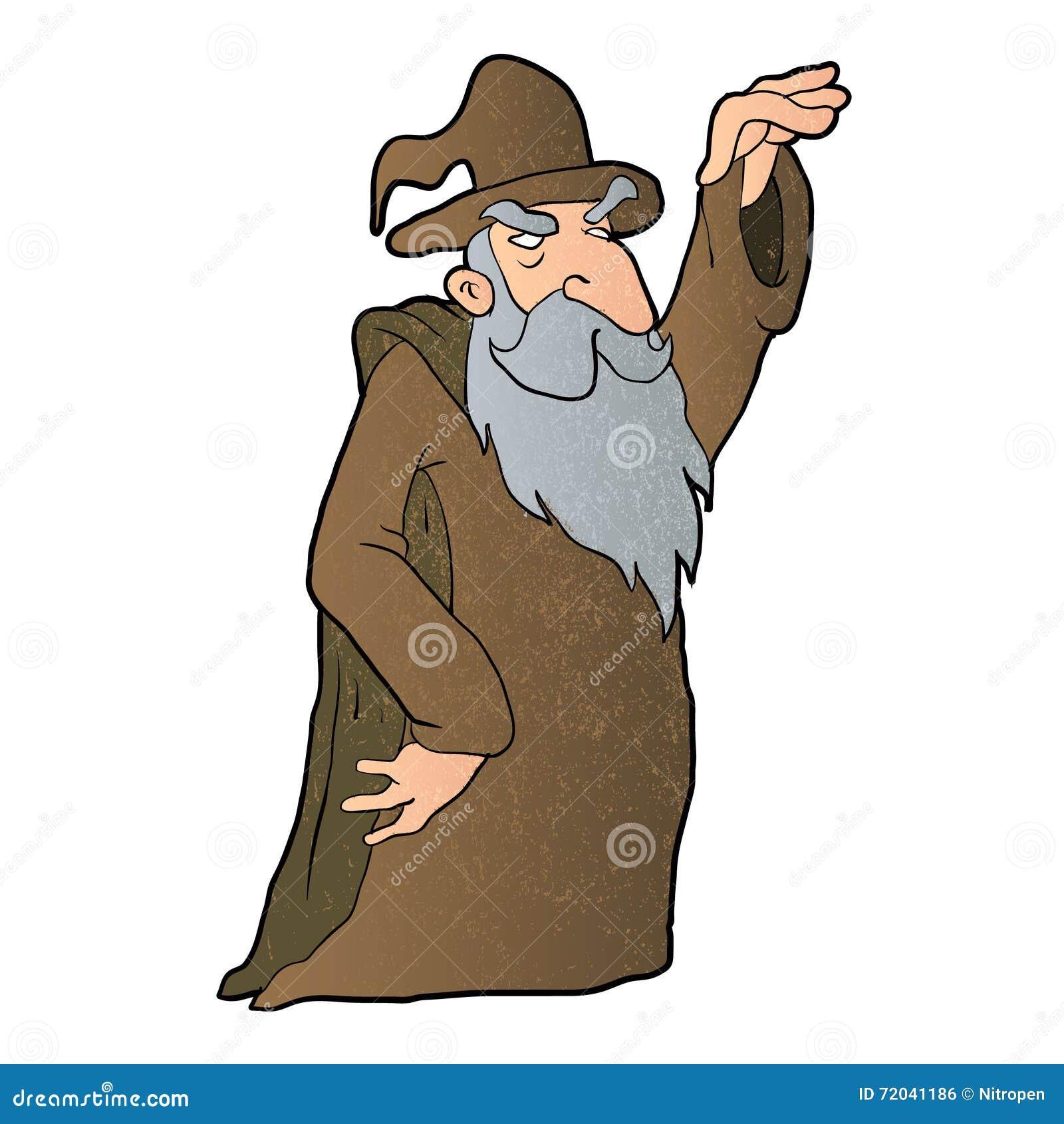 Desenhos animados velhos do feiticeiro