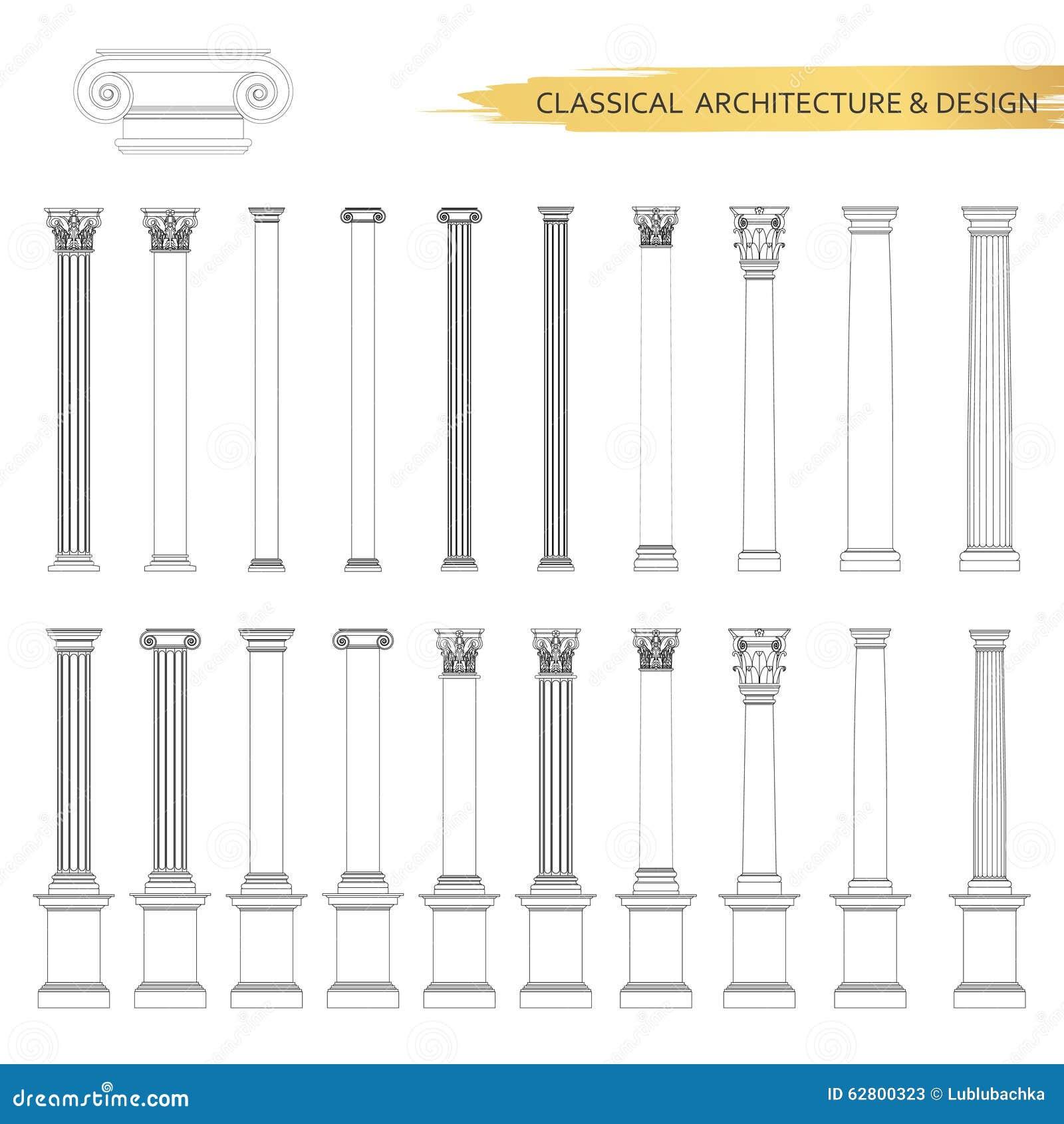 Desenhos arquitetónicos clássicos do formulário no grupo Elementos do projeto do desenho do vetor para a arquitetura clássica
