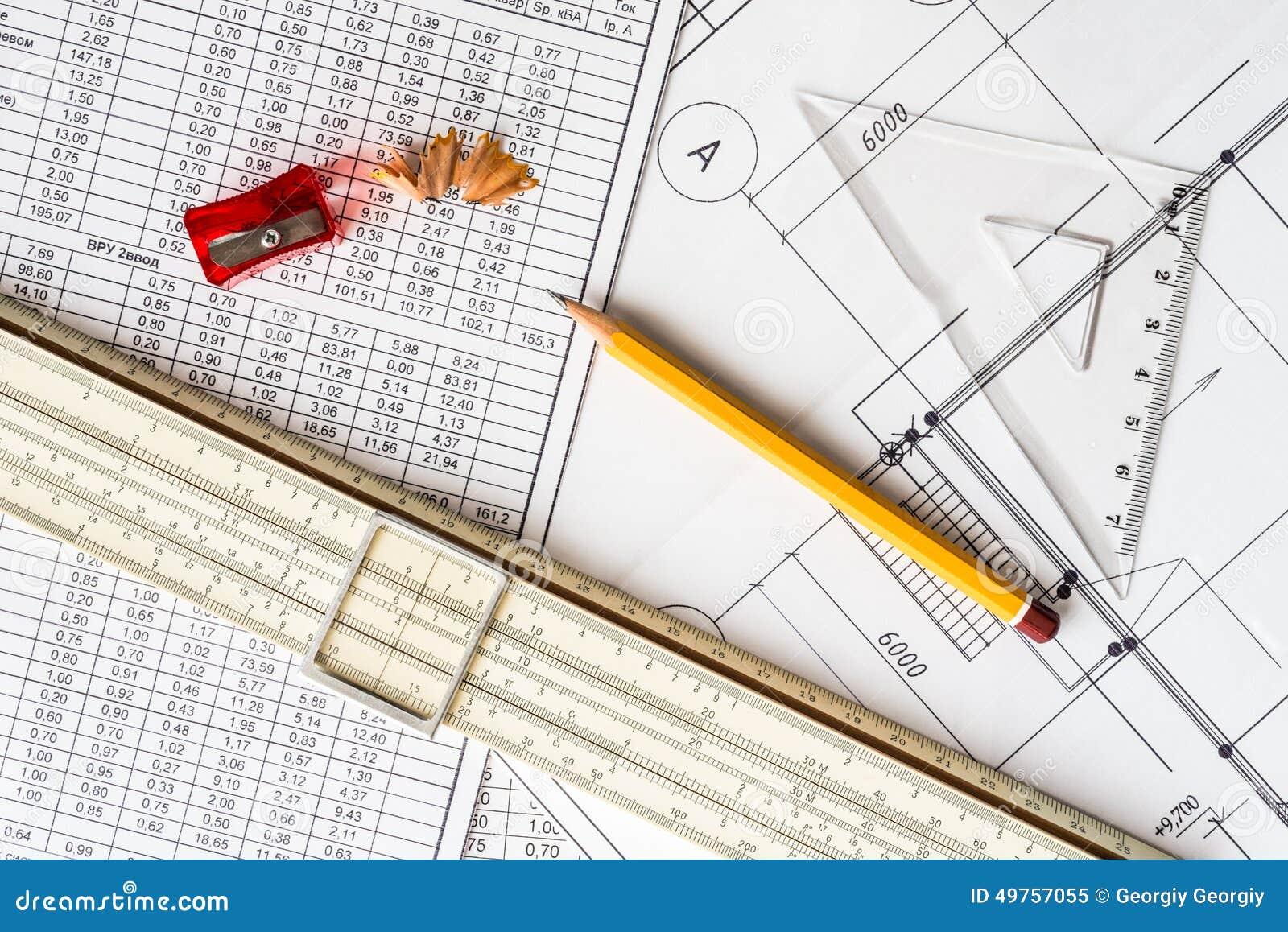 Desenhos arquitetónicos, ferramentas para esboçar