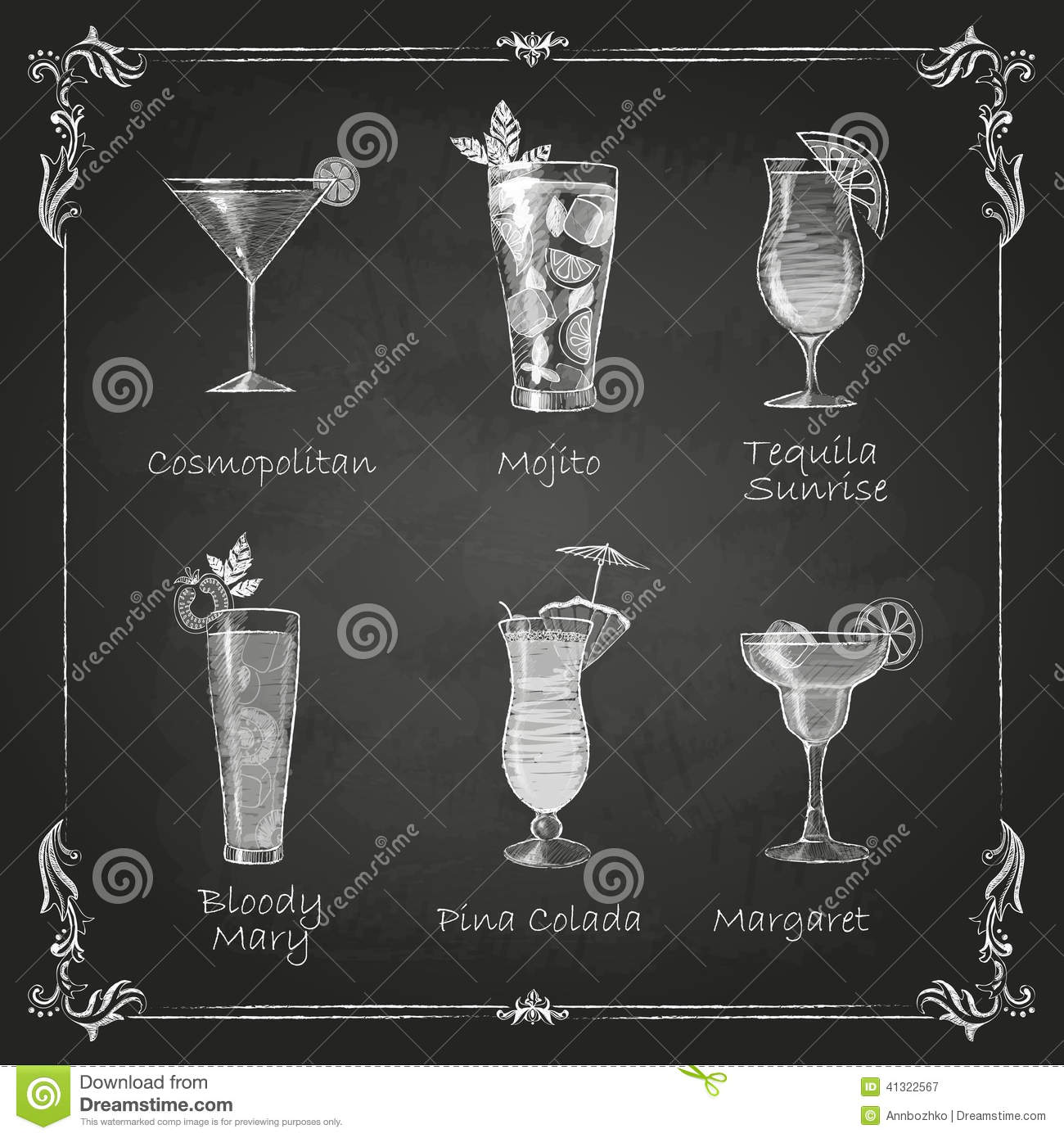 Desenhos de giz menu do cocktail