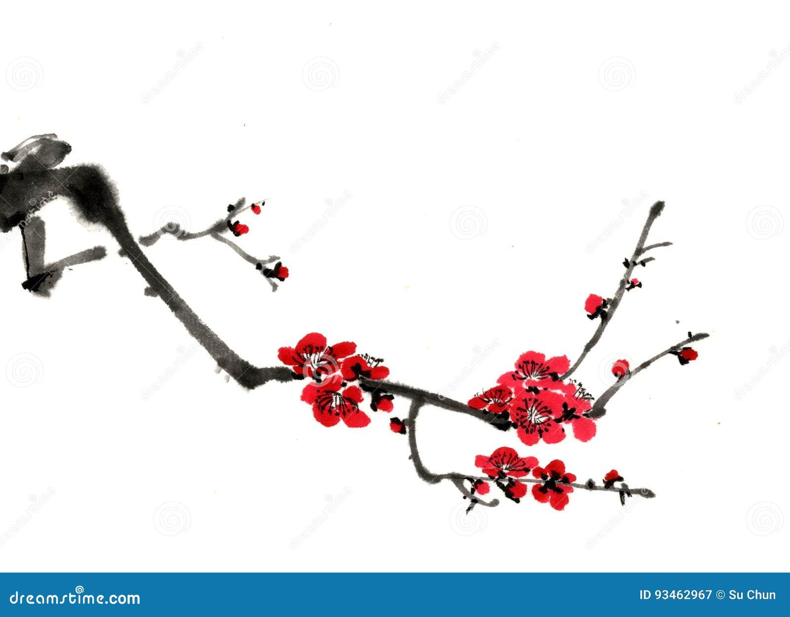 Desenhos Do Chines Estilo Esbocos Flor Da Ameixa Imagem De Stock