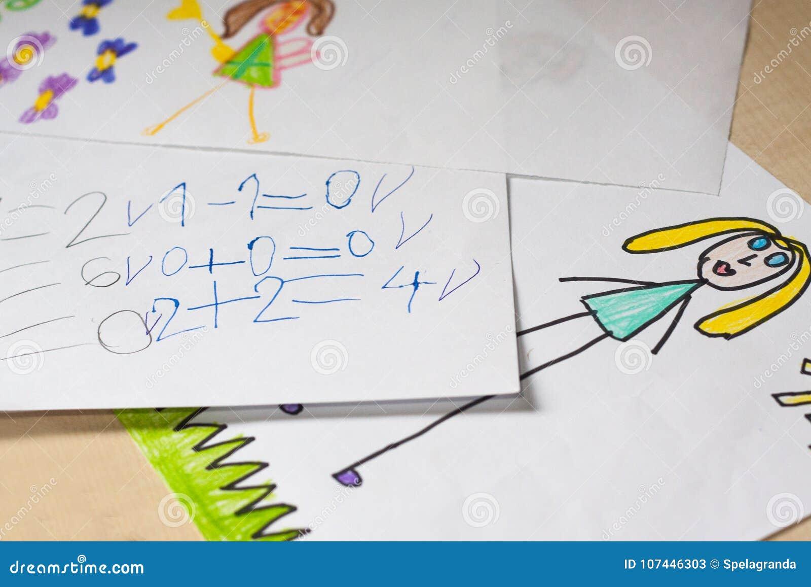 Desenhos e cálculos do ` s de algumas crianças