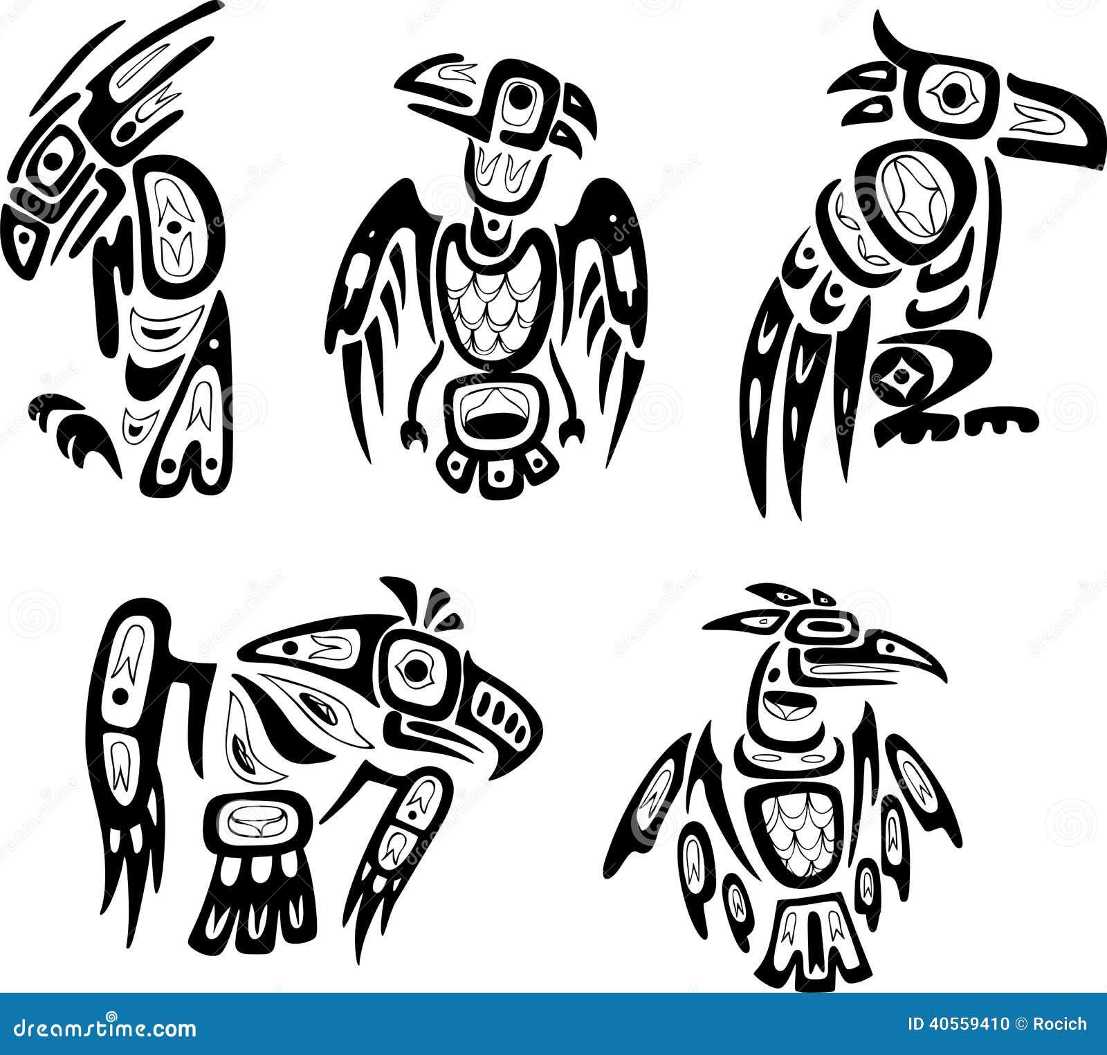 Desenhos Tribais Do Shoshone Indiano Nativo Aguias Ilustracao Do