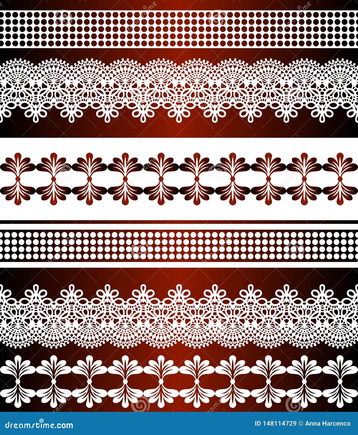 Deseniowi bezszwowi lampasy Lampasa set Koronkowe Artystyczne Bezszwowe granicy Dekoracyjny ornamentu t?o dla tkaniny, tkanina, z