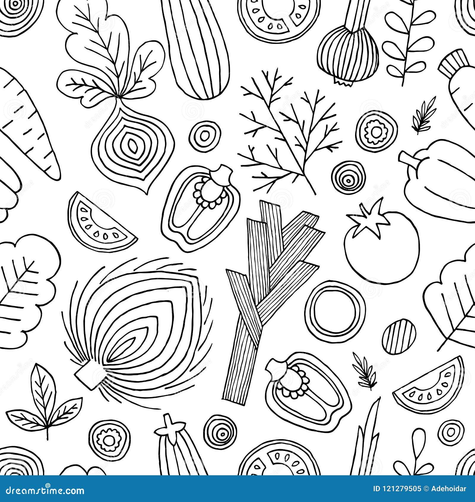 Deseniowi bezszwowi warzywa Liniowa grafika Warzywa tło Skandynawa styl zdrowa żywność również zwrócić corel ilustracji wektora