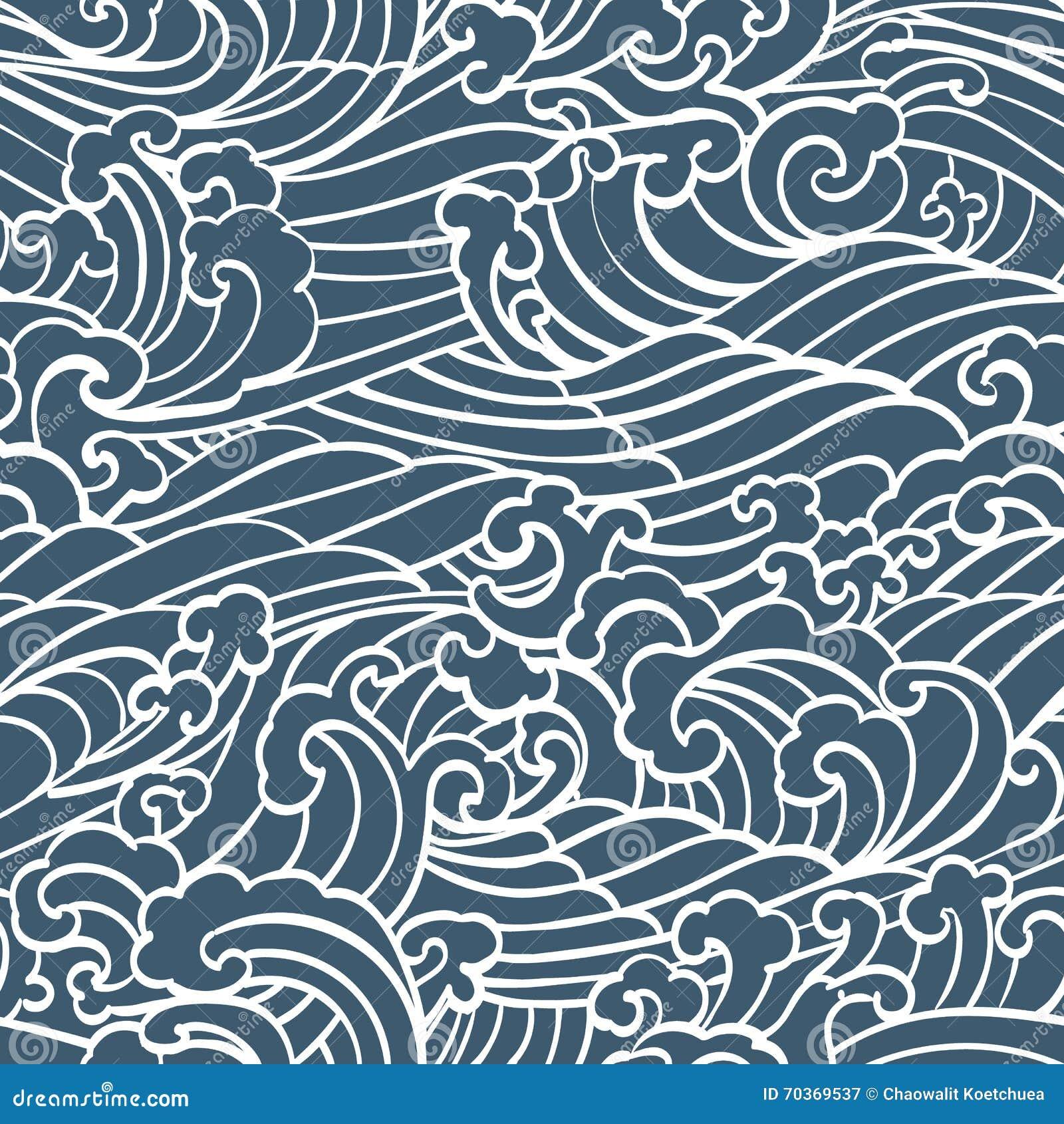 Deseniowy Bezszwowy ocean fala ręki remisu azjata styl