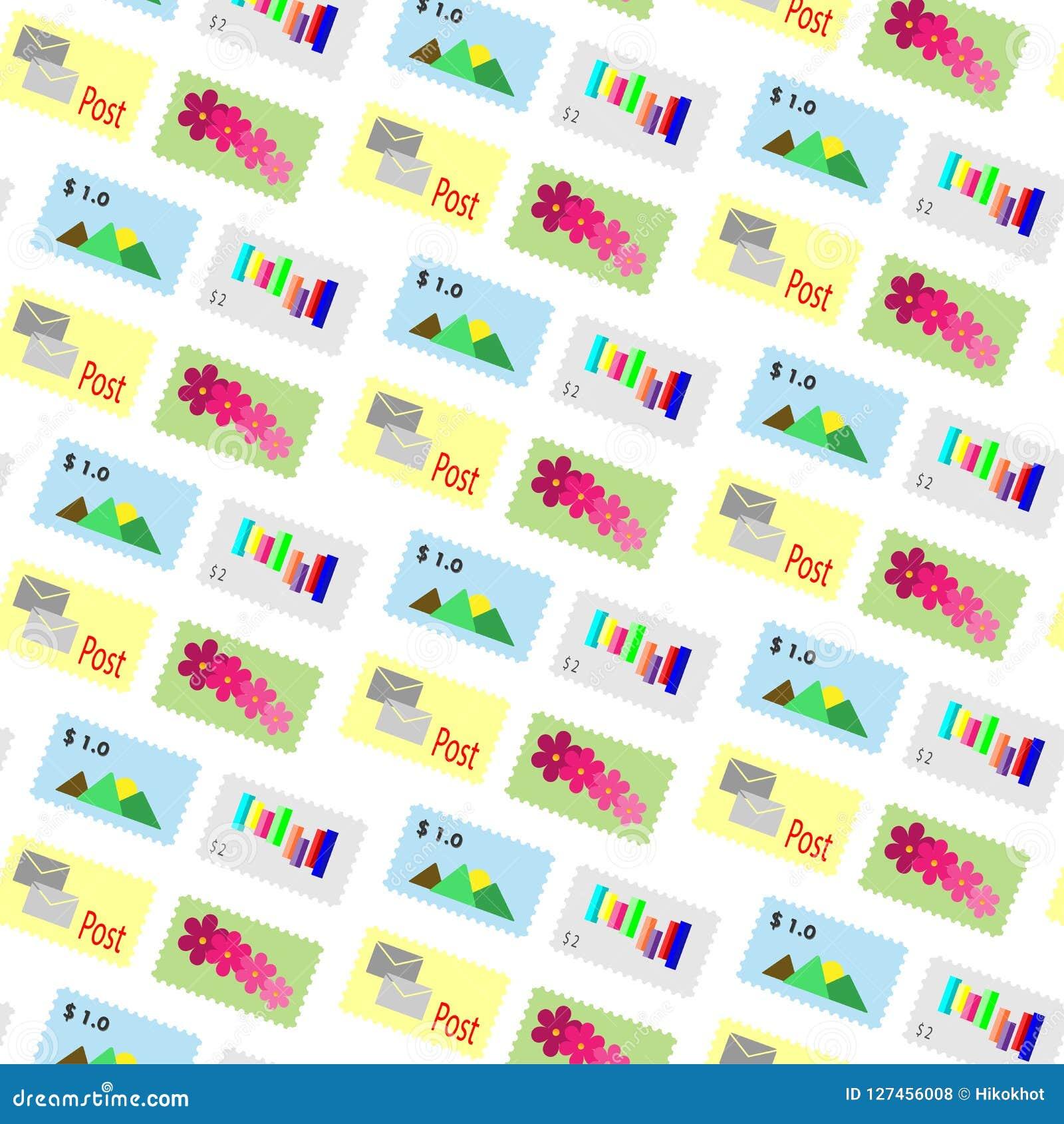 Deseniowy wektorowy znaczka pocztowego tło
