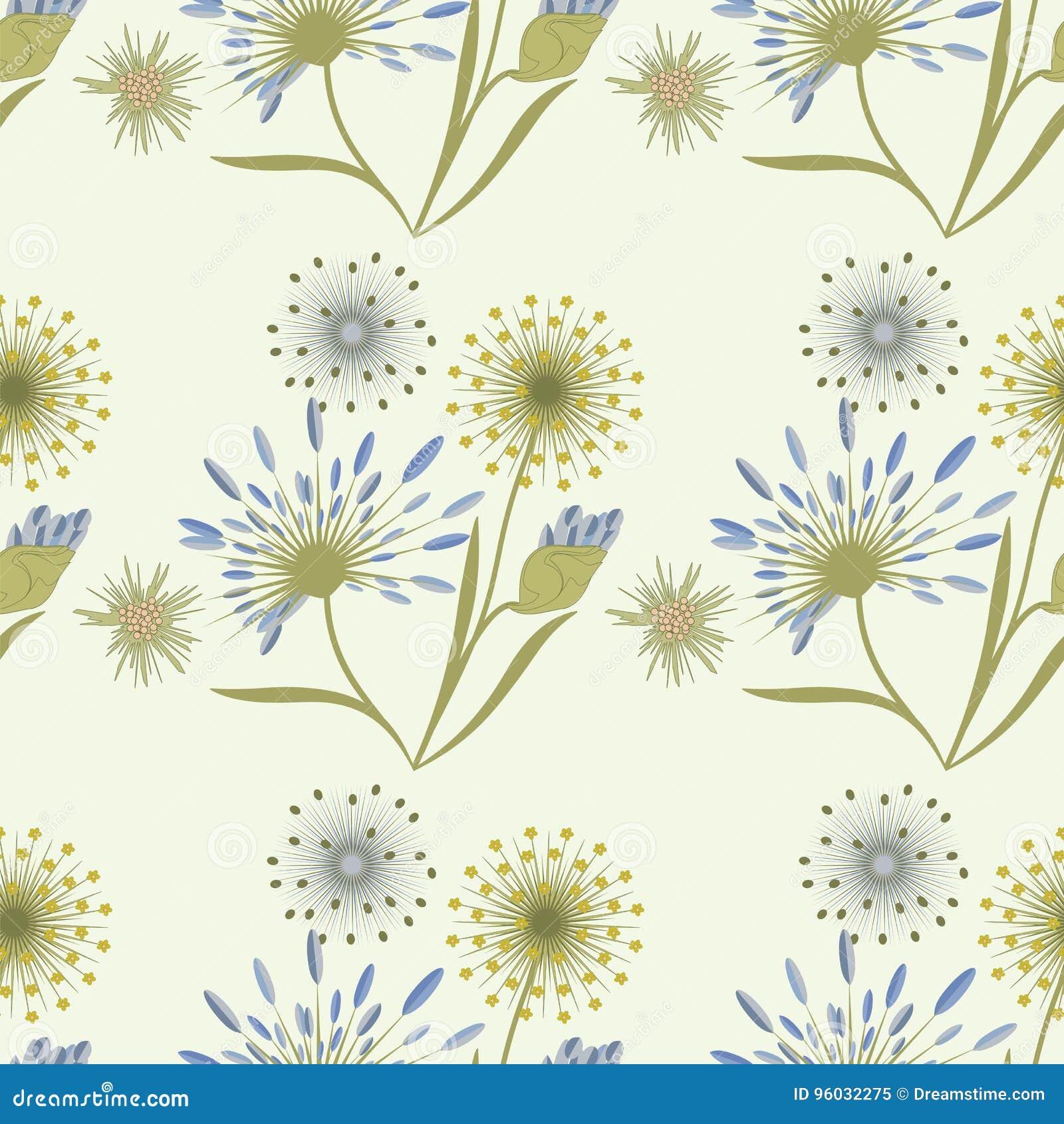 Deseniowych wildflowers delikatny beżowy błękit na lekkiej tło sztuce kreatywnie