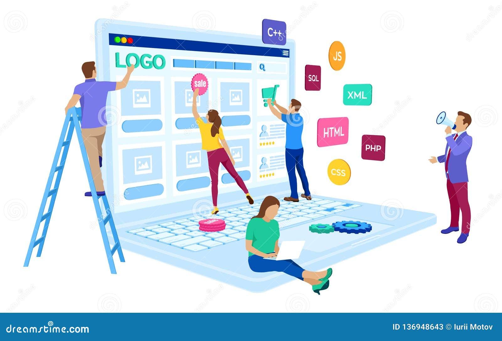 Desenvolvimento da Web O equipe de projeto dos coordenadores para o Web site cria Construção do Web page Projeto de UI UX Caráter