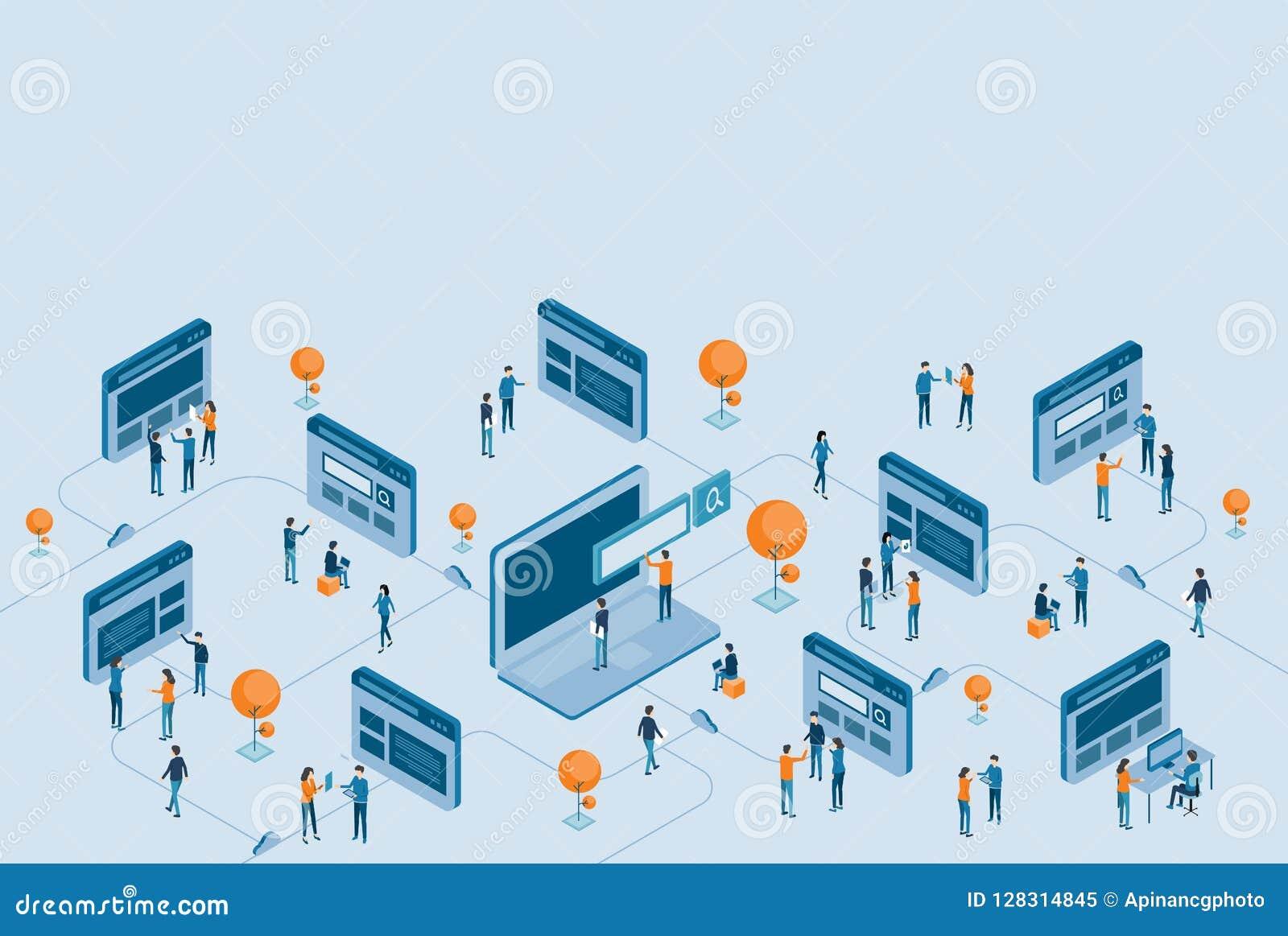 Desenvolvimento isométrico do projeto do página da web e pesquisa em linha do negócio digital