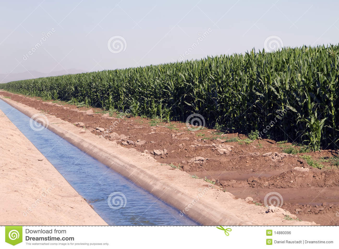 Desert Agriculture Farming Irrigation Canal Stock Photo