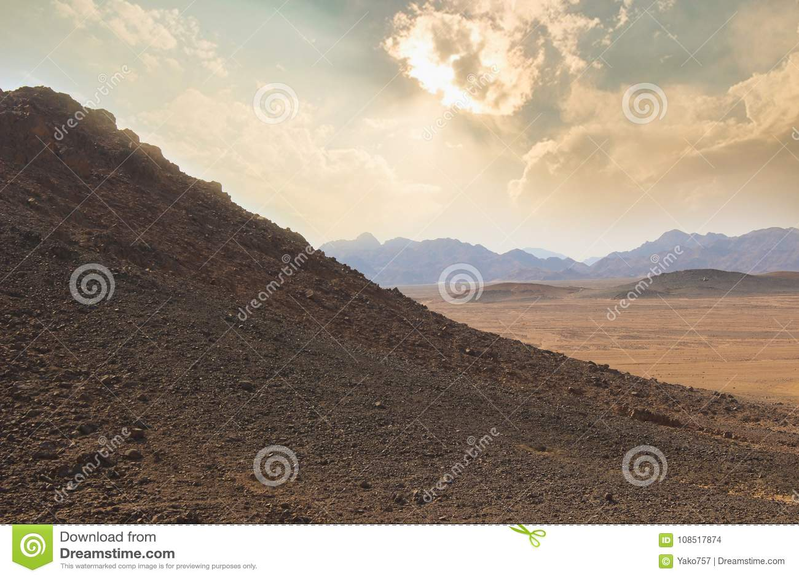 Desert with amazing sky in Egypt.