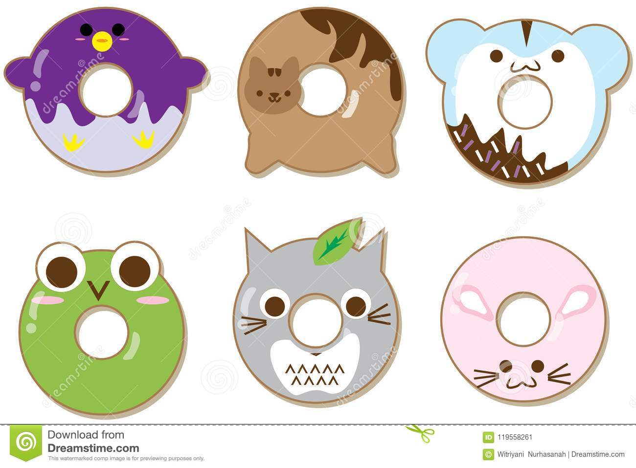 Image of: Cute Kawaii Kawaii Animals Donuts Set Isolated On White Cute Cartoon Characters Dreamstimecom Kawaii Animals Donuts Set Isolated On White Cute Cartoon Characters