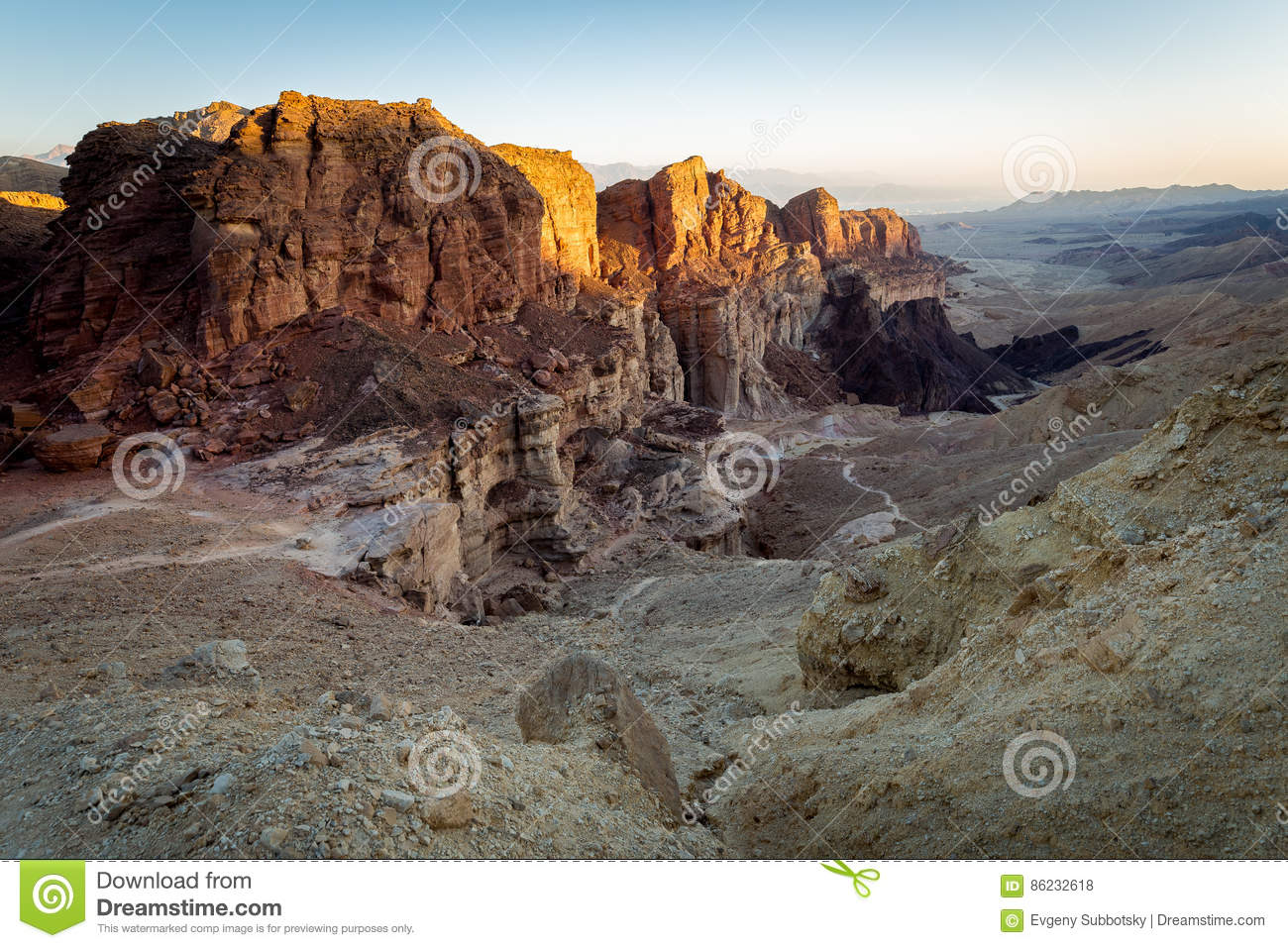 Desert canyon mountains rock cliffs gorge, Negev travel Israel.