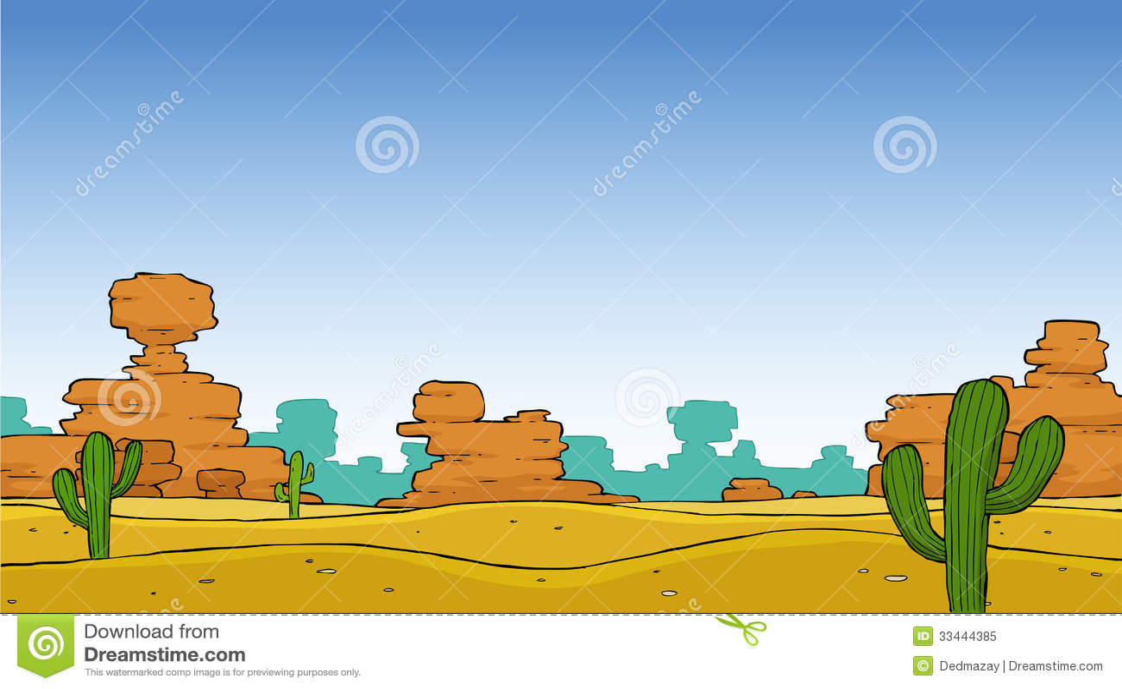Landscape Illustration Vector Free: Desert Stock Vector. Illustration Of Environment, Cute