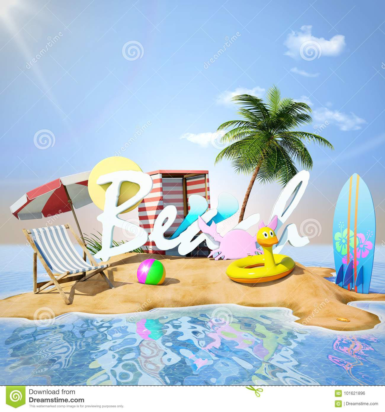 Deserted Island Beach: Desert Island Stock Illustration. Illustration Of Vacation