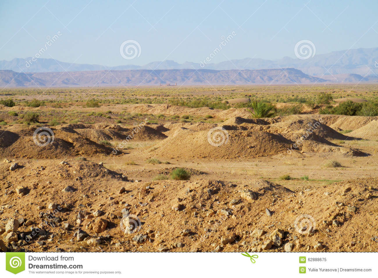 Desert Landscape And Mountains On Horizon Stock Image - Image of