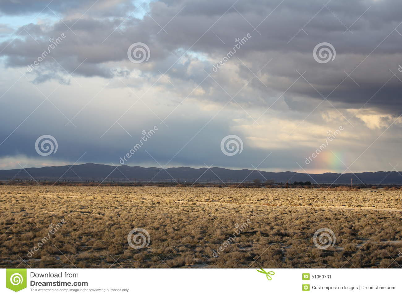 Download A Desert Landscape With A Rainbow In Lancaster, California Stock Image - Image of state, photography: 51050731