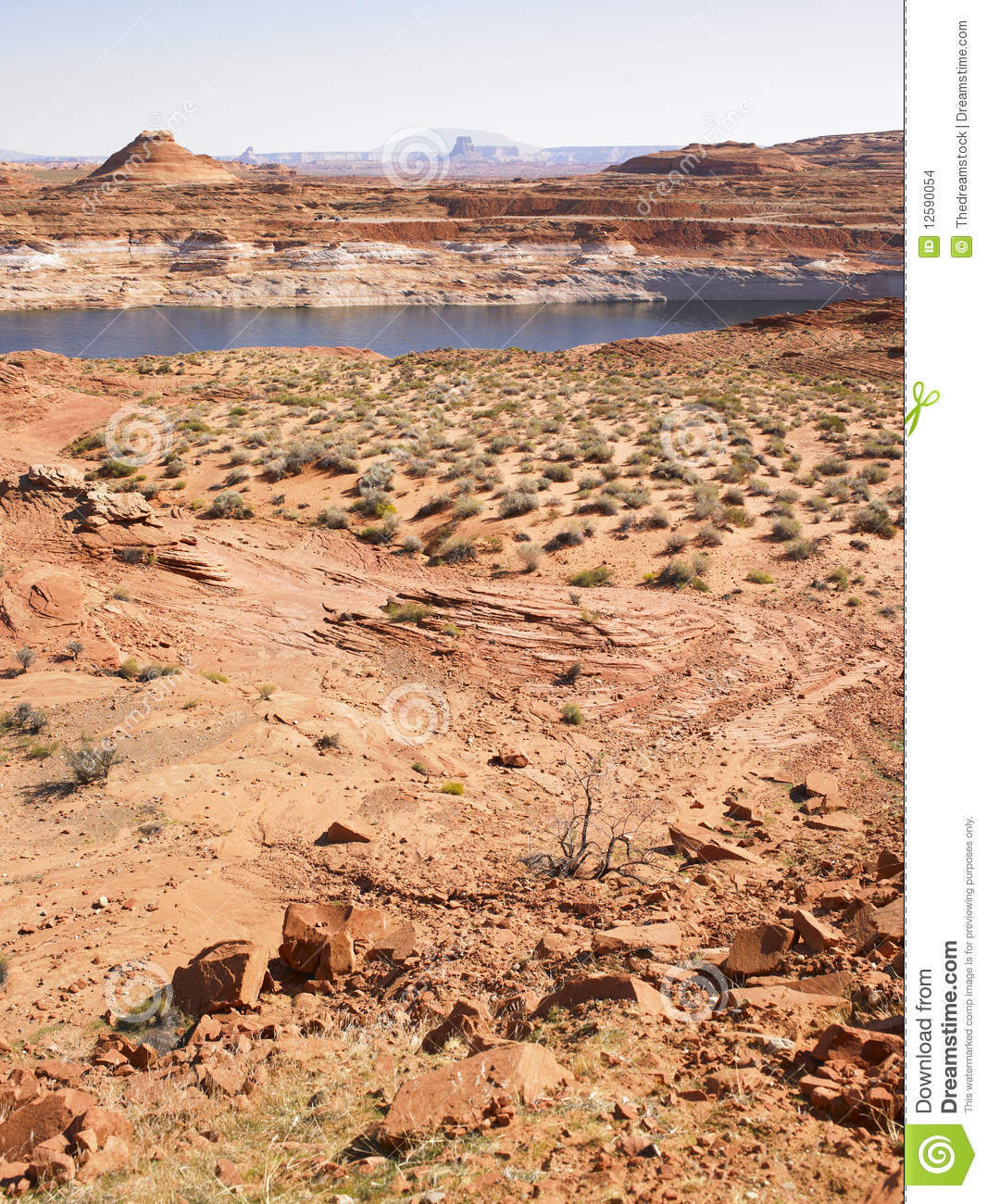 Desert Landscaping With River Rock : Desert landscape with river in background stock images