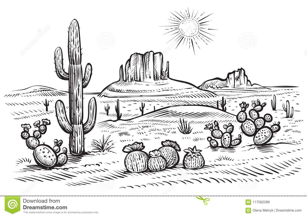 It is an image of Mesmerizing Desert Scene Drawing