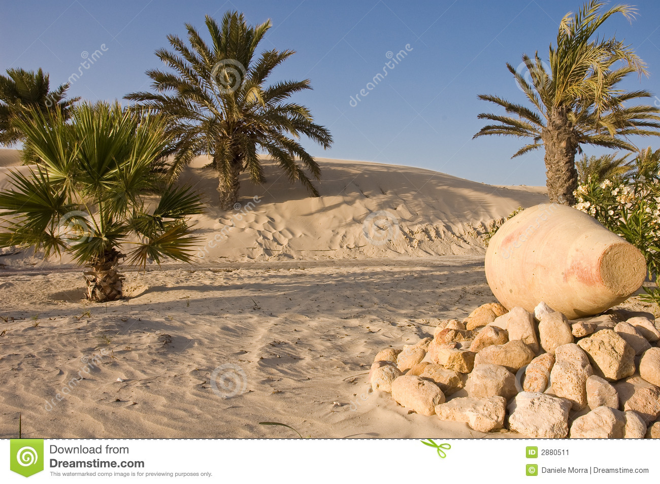 green oasis on the djerba desert with an amphora.