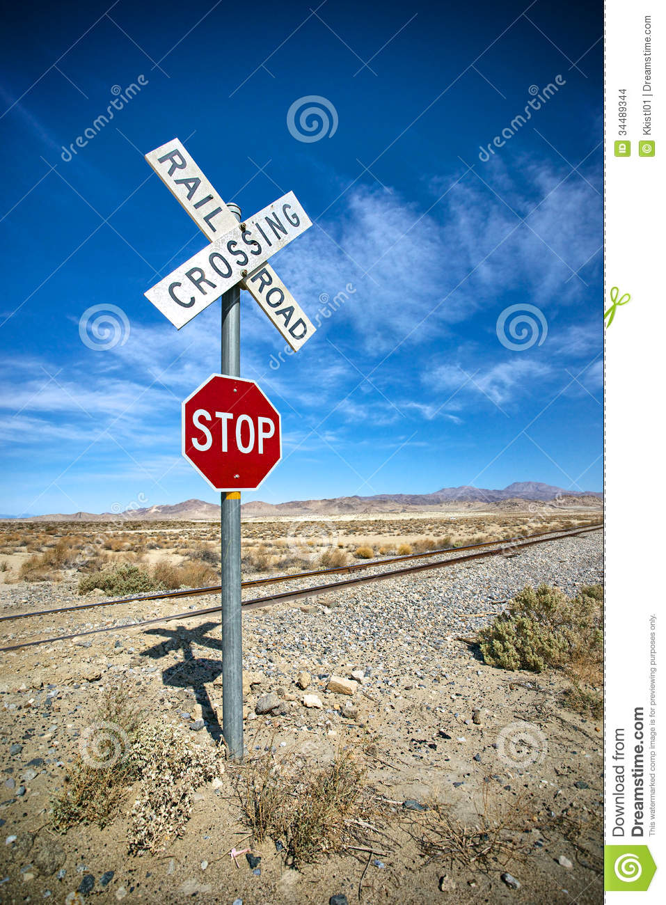 Desert Stop Sign and Railroad Crossing