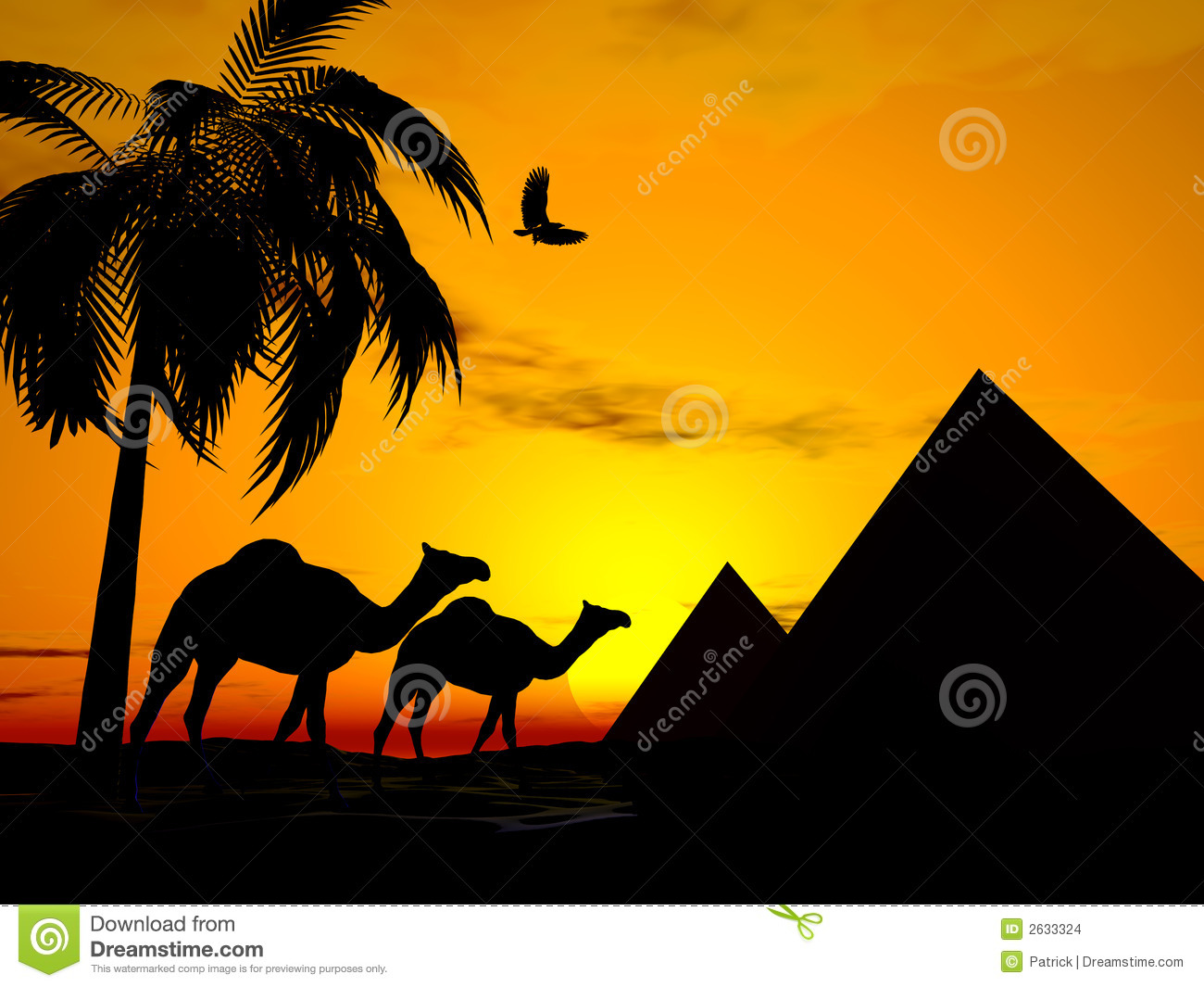 Illustration of Camels walking in desert sunset, pyramids in ...