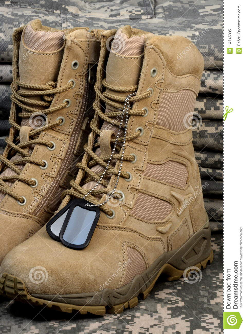 Desert Tactical Boots And Military Tag Chains Stock Image