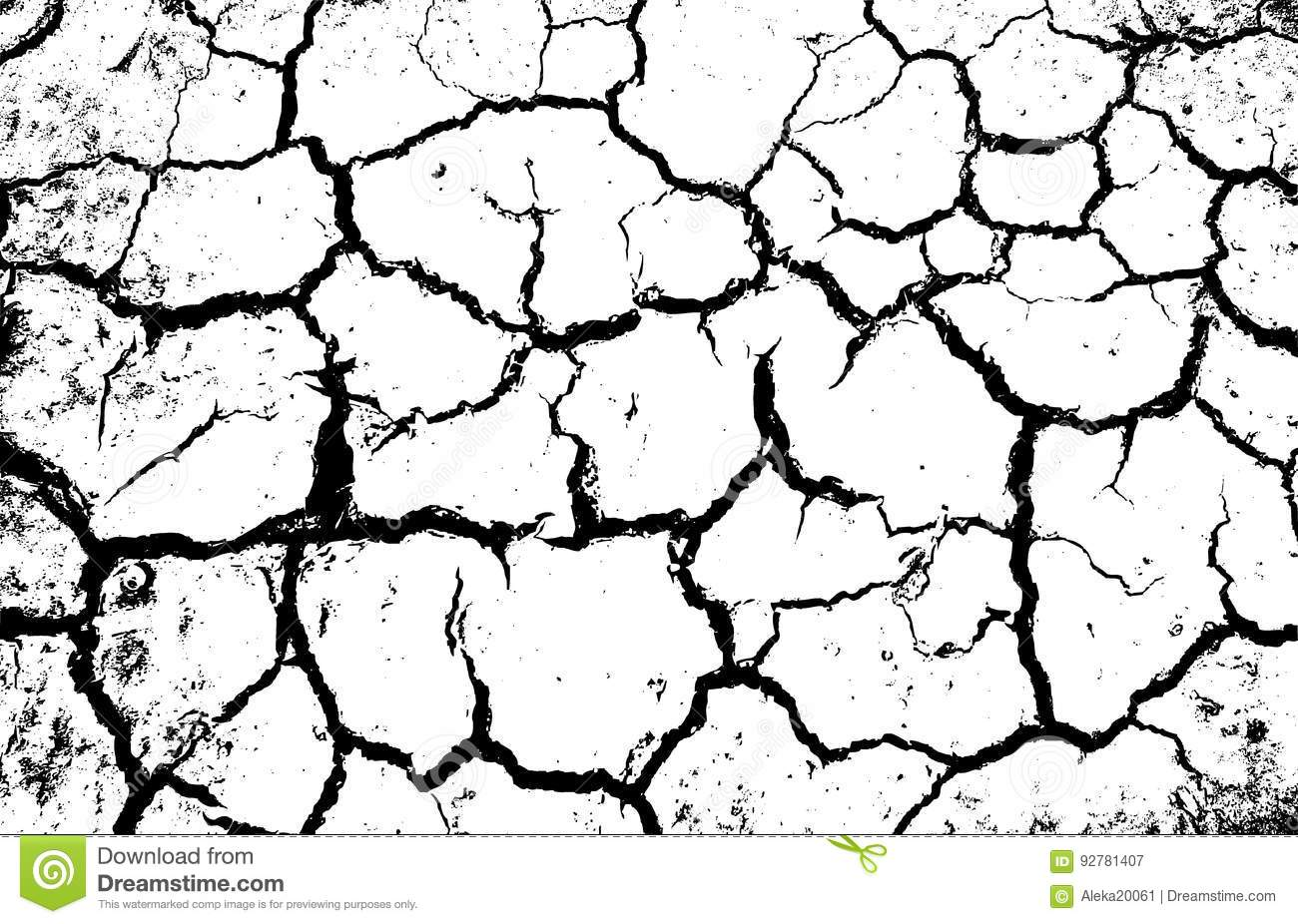 Desert template deep black cracks on white ground background dry