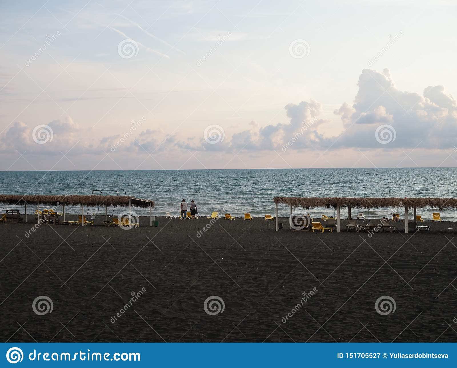 Deserted beach in Georgia with black sand. Sanctions against Russia. Absence of tourists in the middle of the season. Georgia,