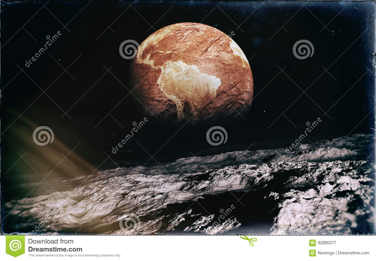 Deserted Earth From The Moon Stock Illustration
